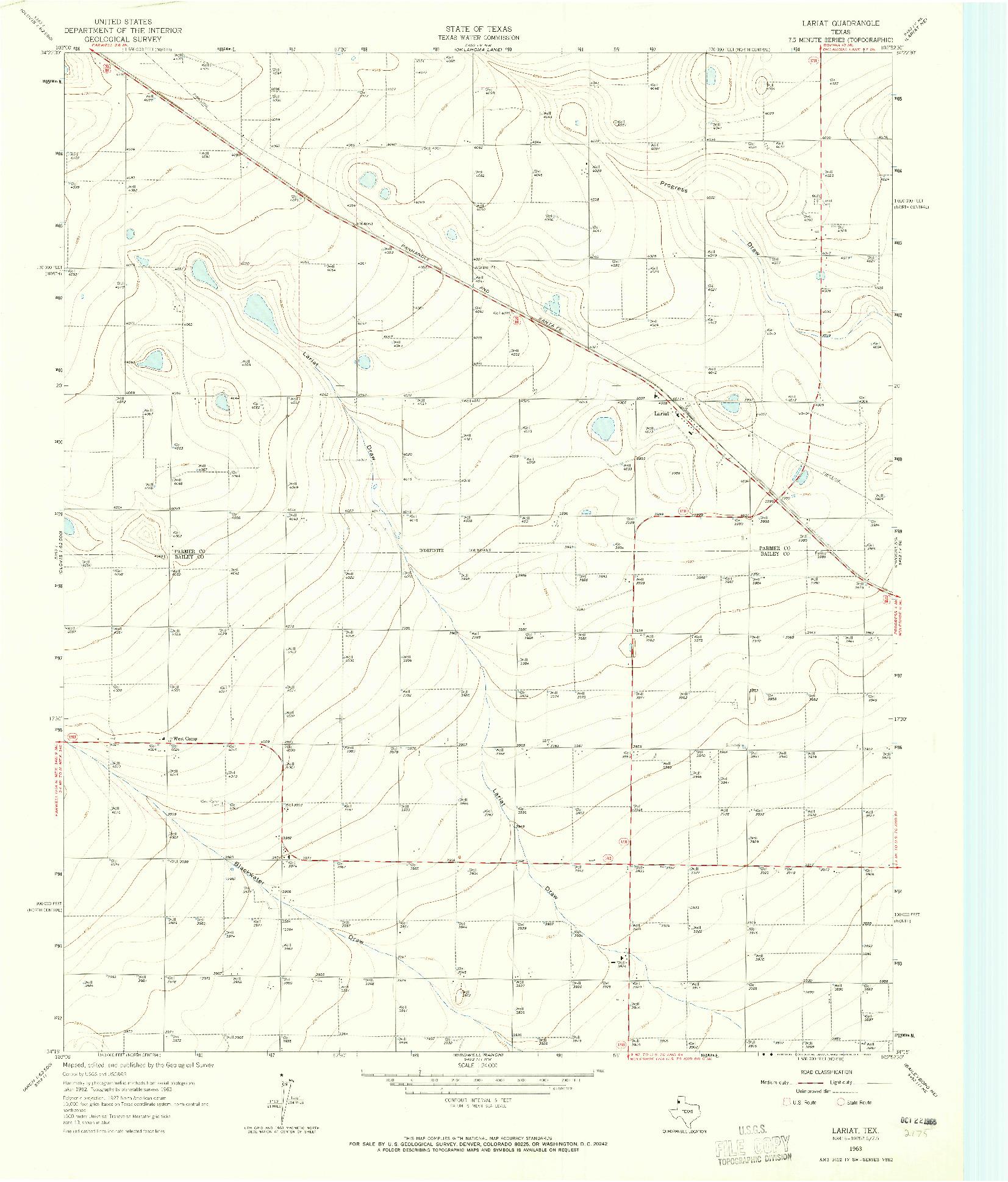 USGS 1:24000-SCALE QUADRANGLE FOR LARIAT, TX 1963