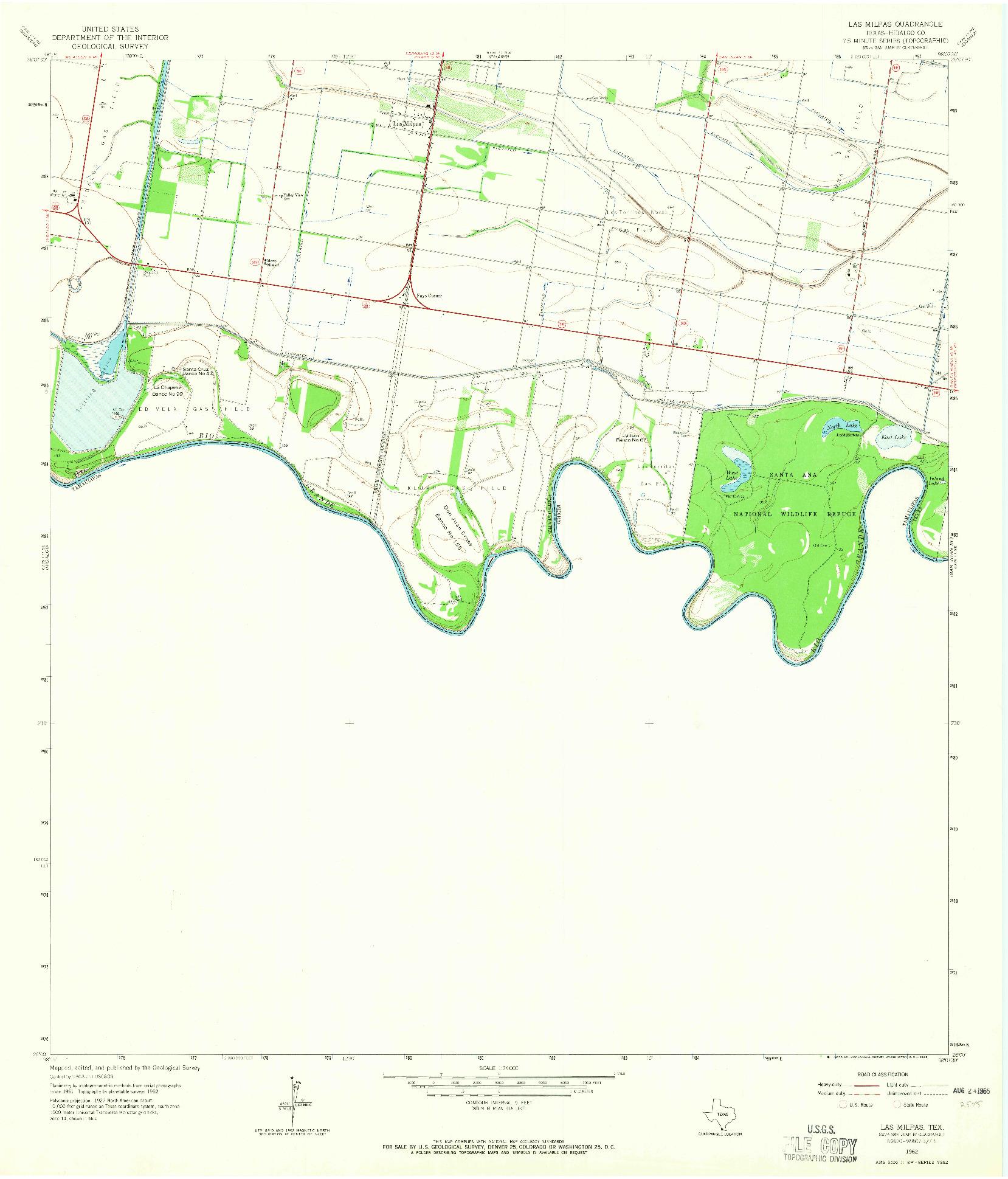 USGS 1:24000-SCALE QUADRANGLE FOR LAS MILPAS, TX 1962