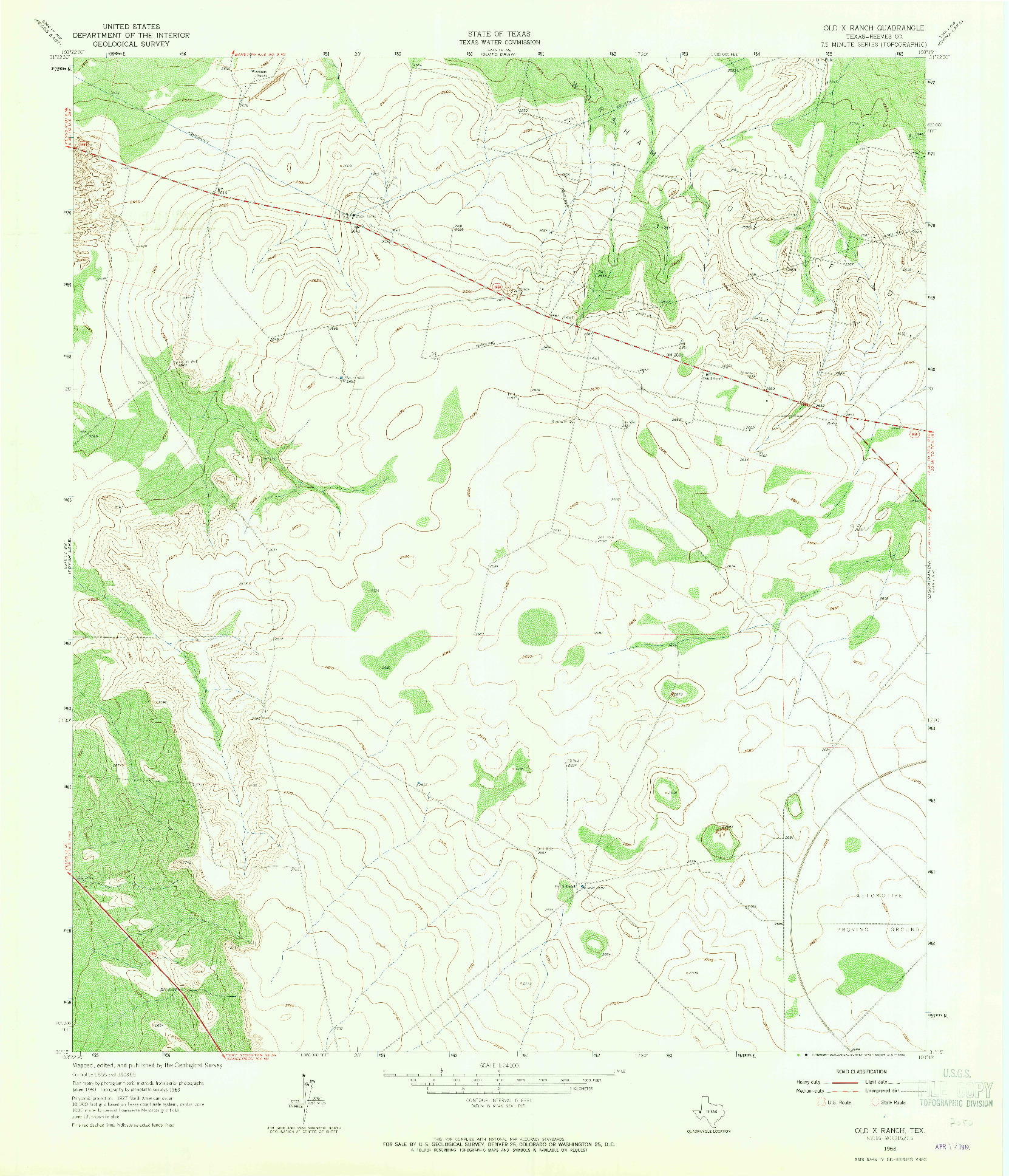 USGS 1:24000-SCALE QUADRANGLE FOR OLD X RANCH, TX 1963