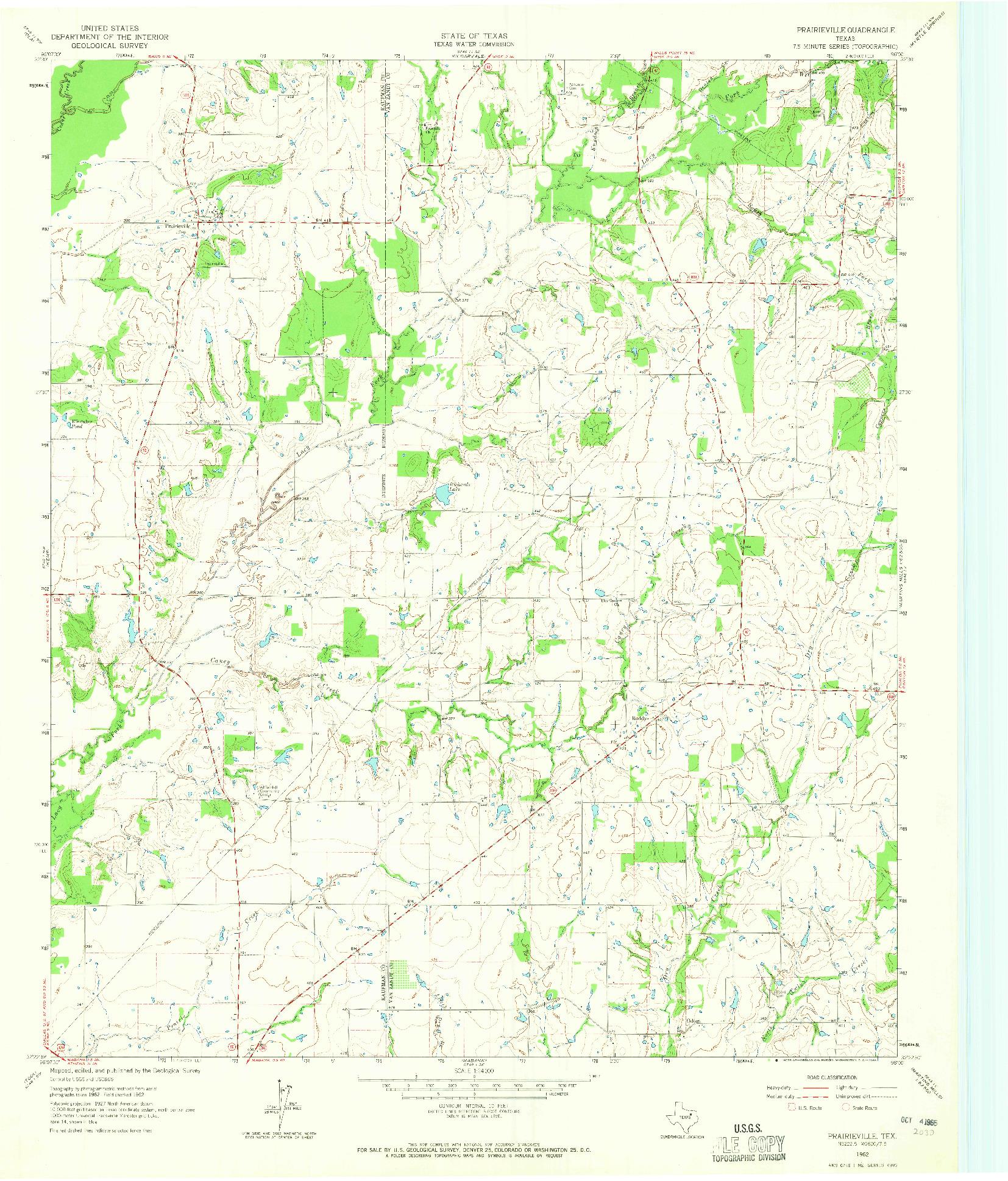 USGS 1:24000-SCALE QUADRANGLE FOR PRAIRIEVILLE, TX 1962