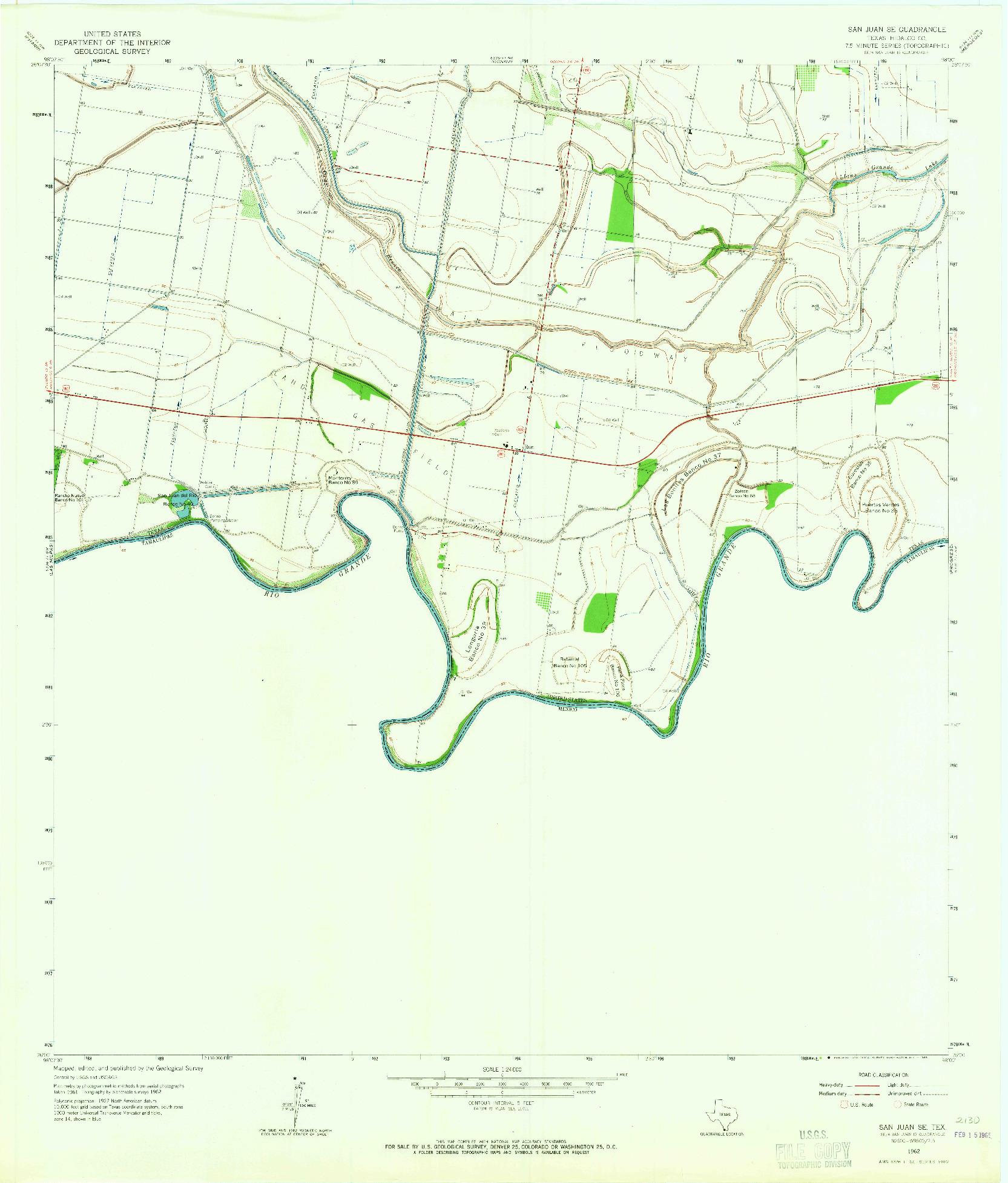 USGS 1:24000-SCALE QUADRANGLE FOR SAN JUAN SE, TX 1962