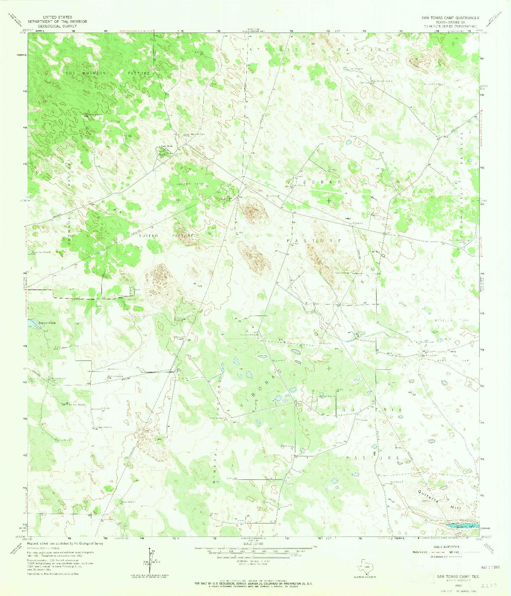 USGS 1:24000-SCALE QUADRANGLE FOR SAN TOMAS CAMP, TX 1963