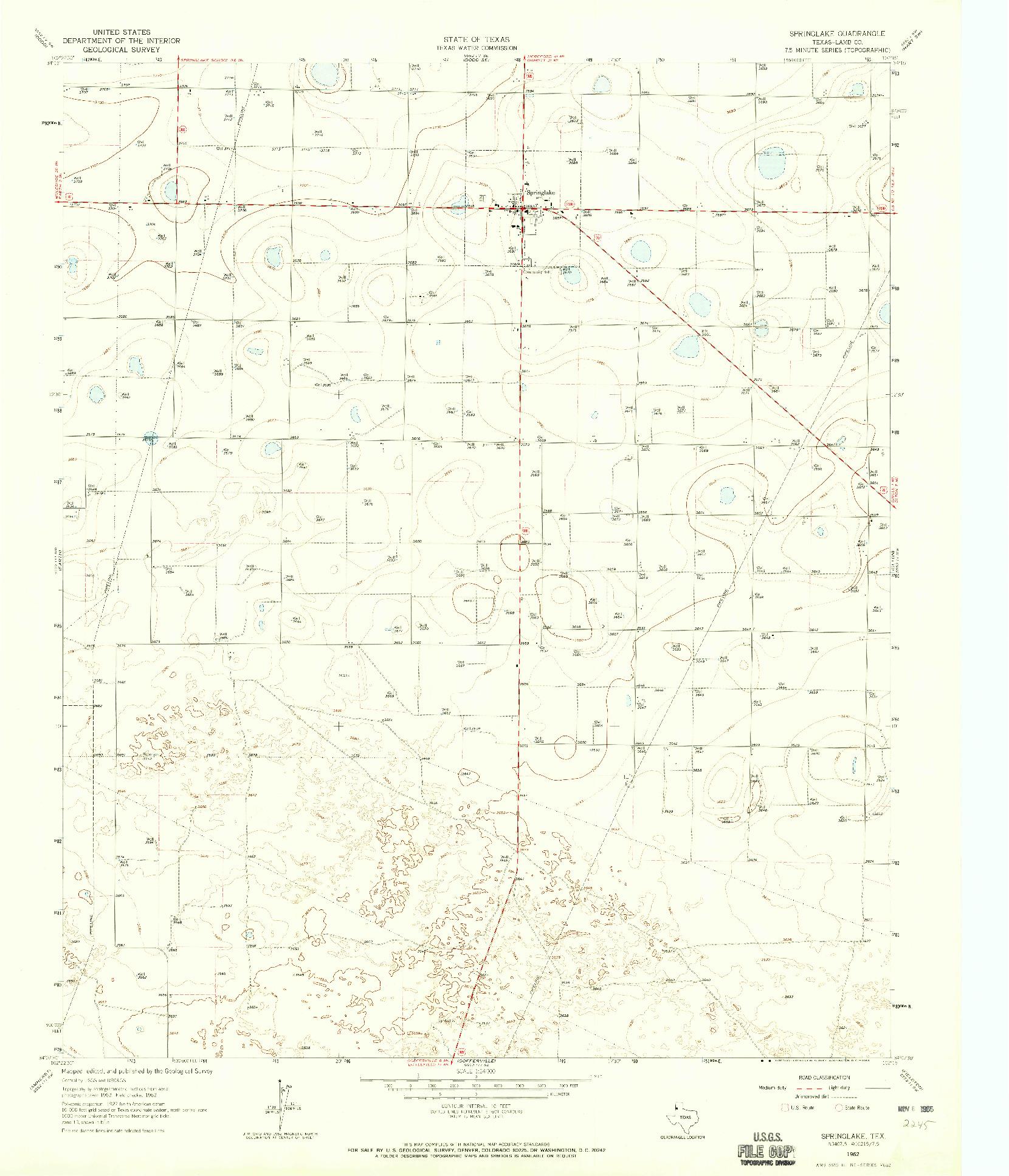 USGS 1:24000-SCALE QUADRANGLE FOR SPRINGLAKE, TX 1962