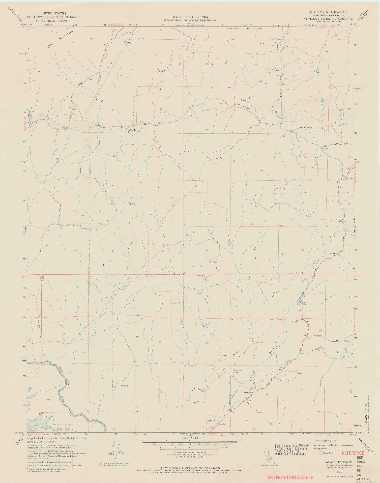 USGS 1:24000-SCALE QUADRANGLE FOR ACADEMY, CA 1964
