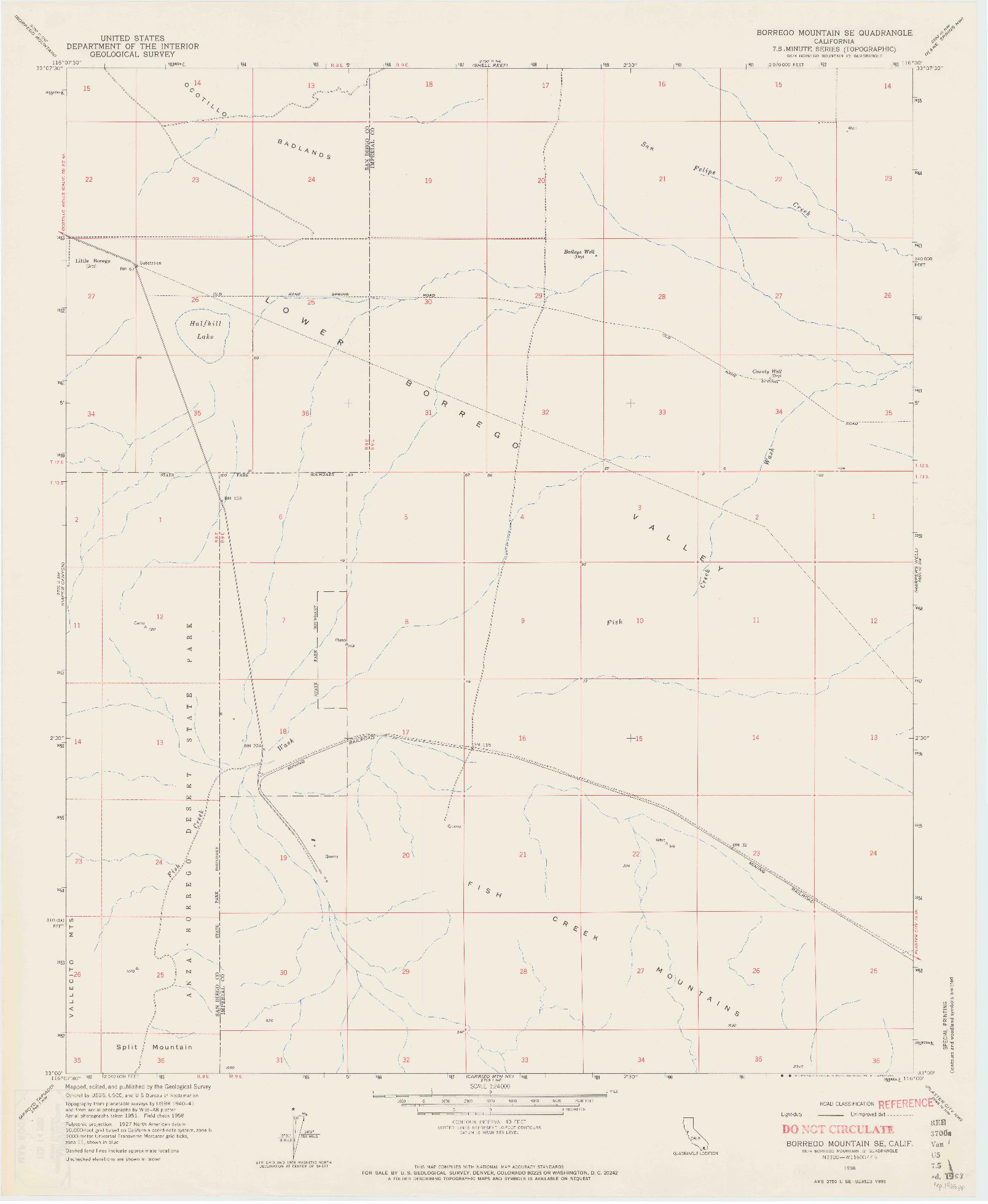 USGS 1:24000-SCALE QUADRANGLE FOR BORREGO MOUNTAIN SE, CA 1958