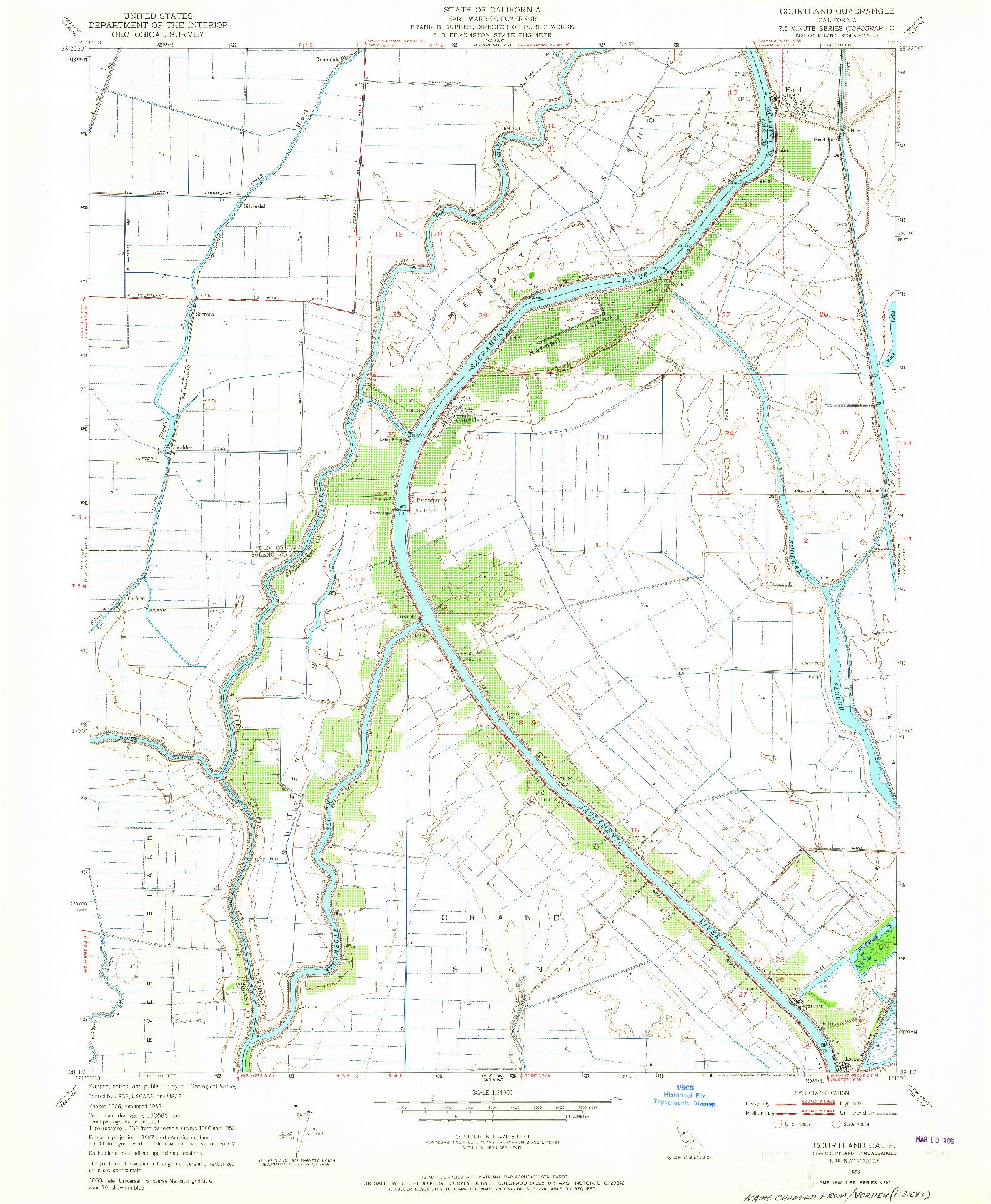 USGS 1:24000-SCALE QUADRANGLE FOR COURTLAND, CA 1952