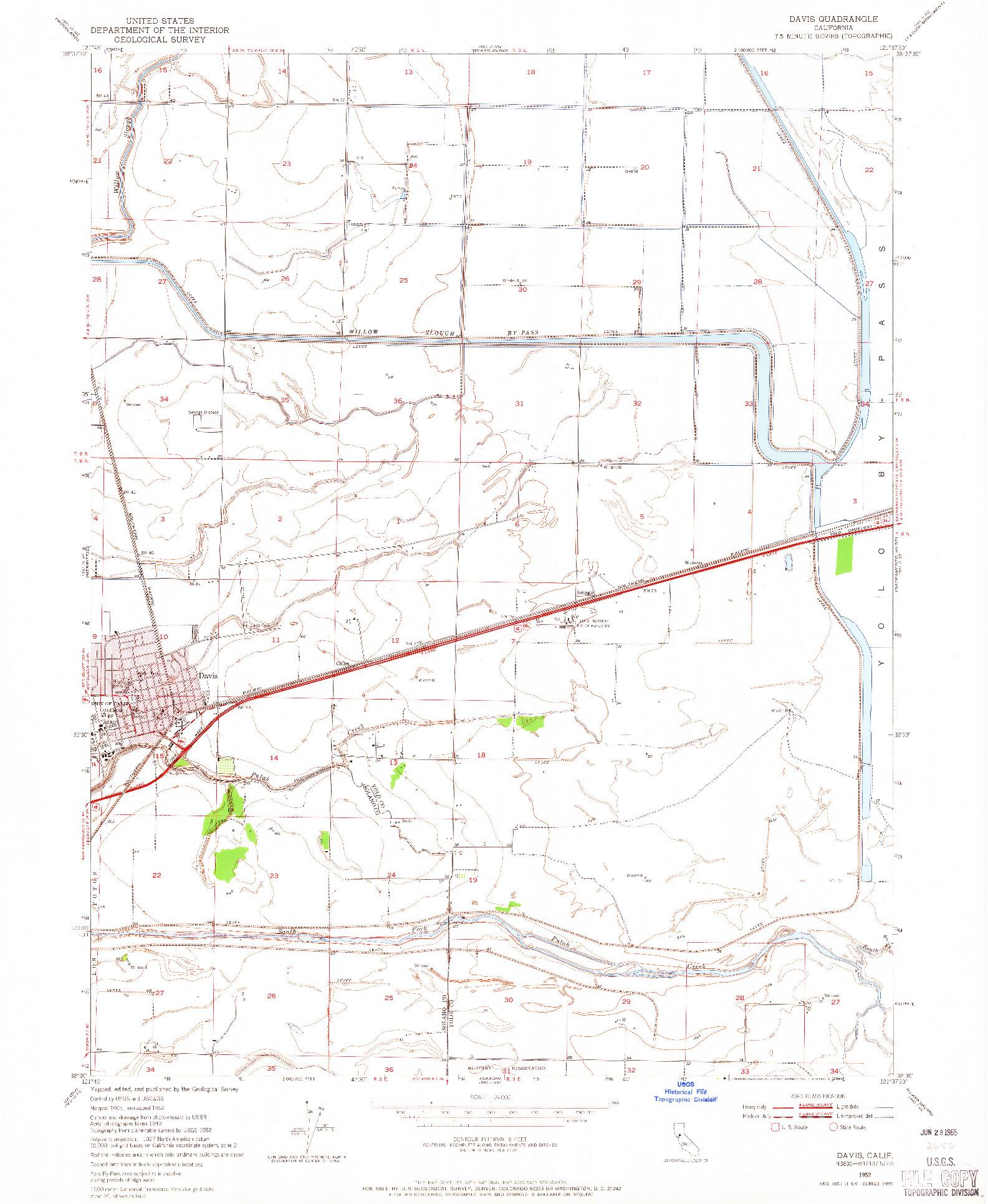 USGS 1:24000-SCALE QUADRANGLE FOR DAVIS, CA 1952