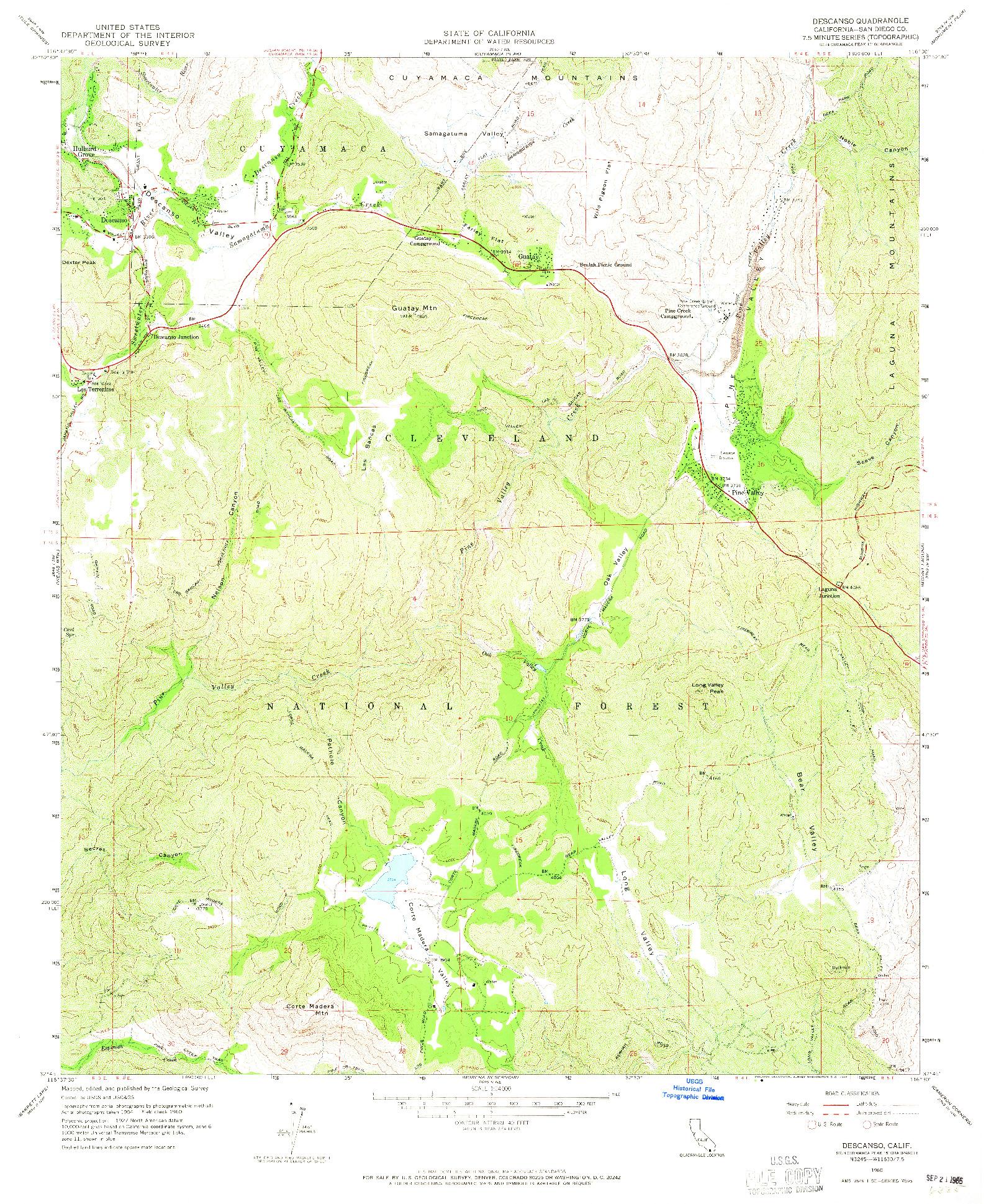 USGS 1:24000-SCALE QUADRANGLE FOR DESCANSO, CA 1960