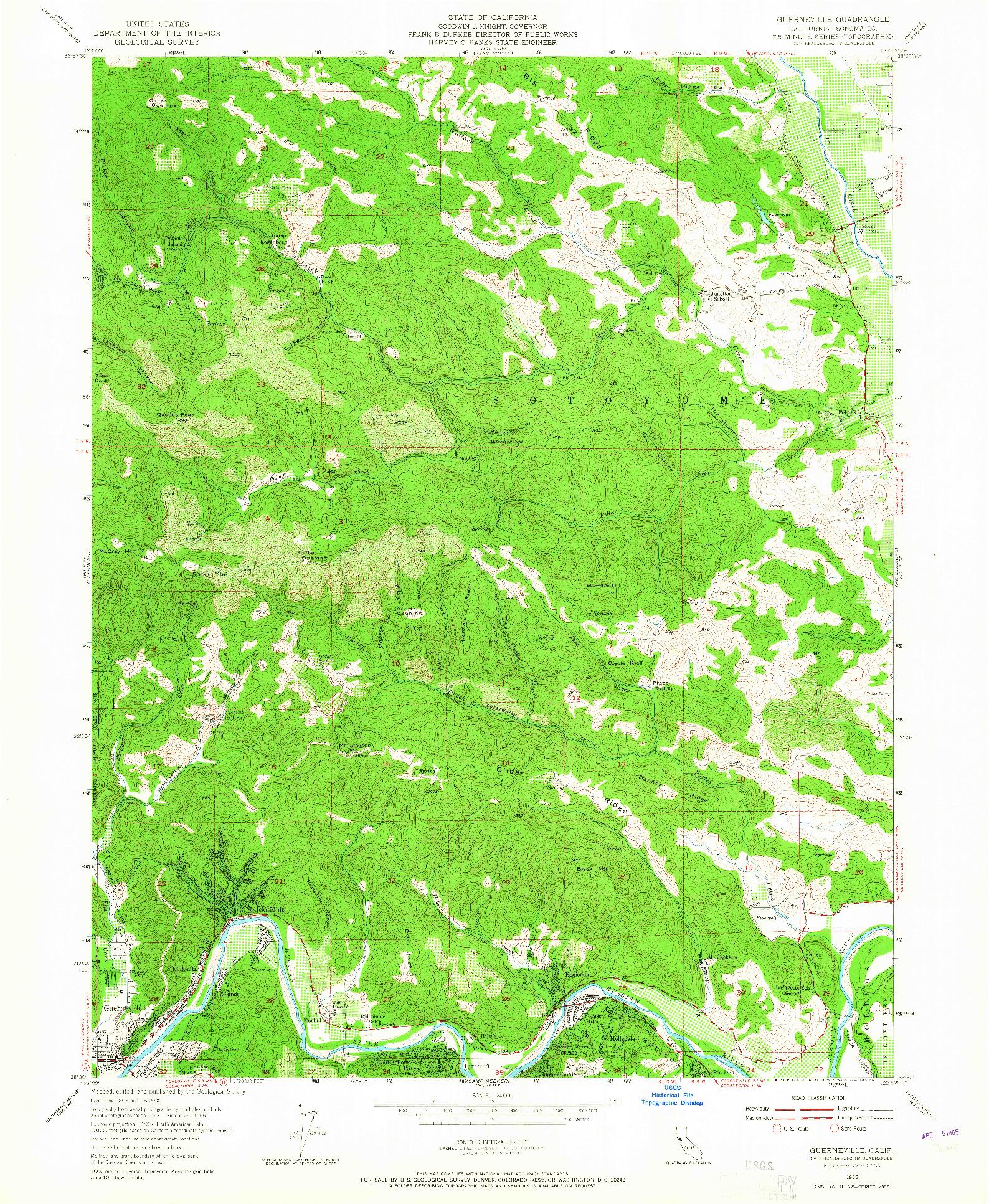 USGS 1:24000-SCALE QUADRANGLE FOR GUERNEVILLE, CA 1955