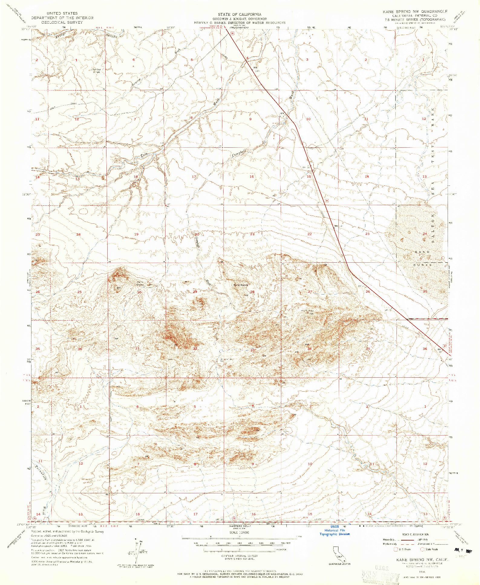 USGS 1:24000-SCALE QUADRANGLE FOR KANE SPRING NW, CA 1956
