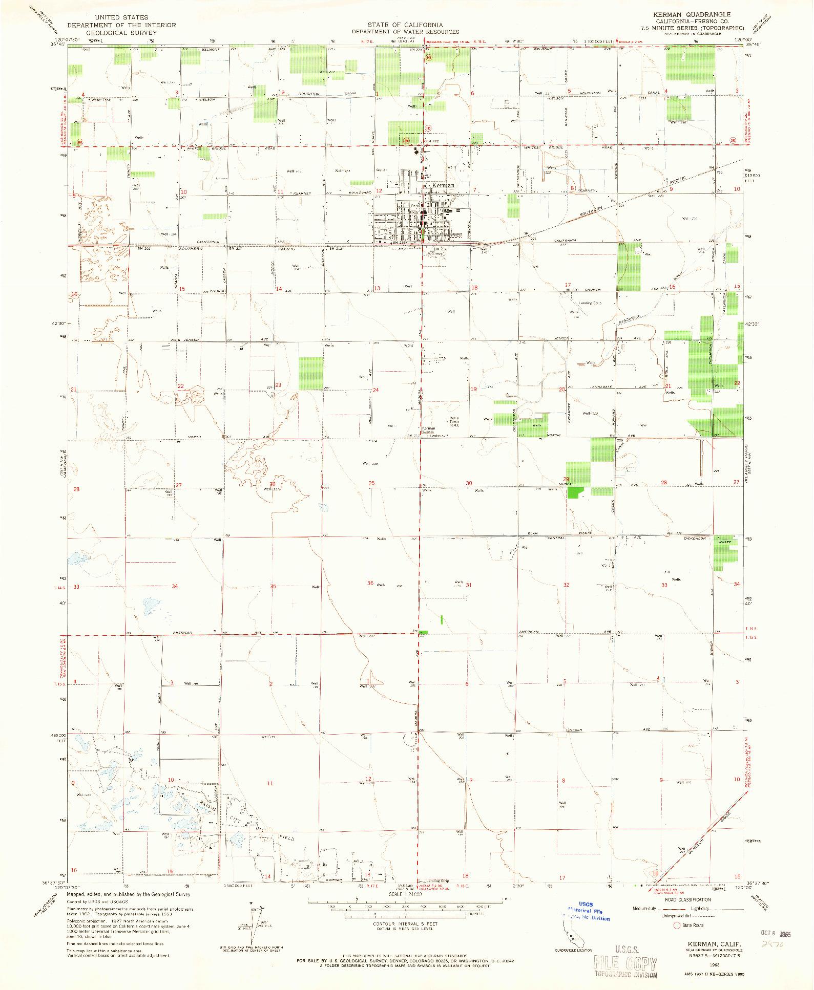 USGS 1:24000-SCALE QUADRANGLE FOR KERMAN, CA 1963
