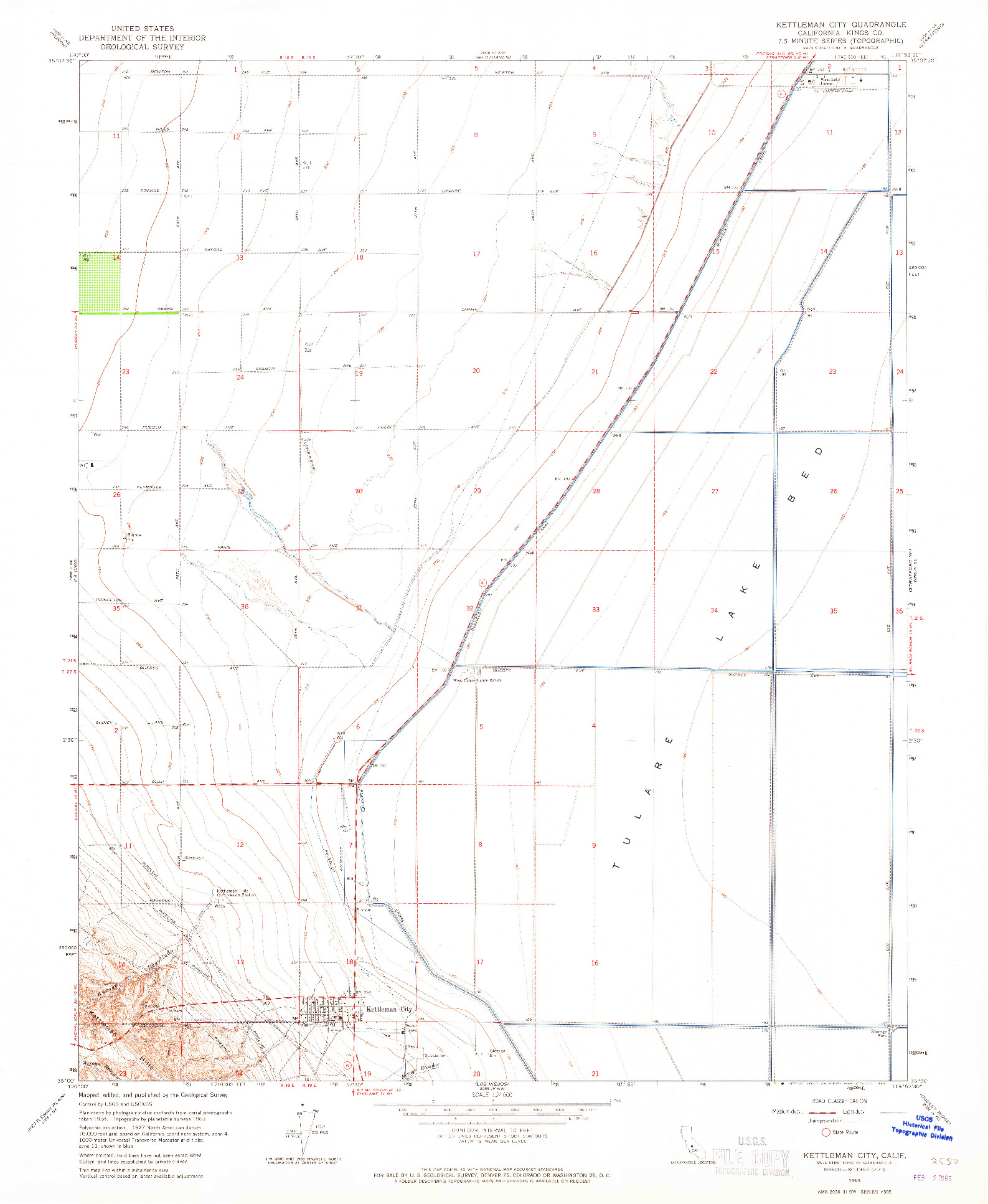 USGS 1:24000-SCALE QUADRANGLE FOR KETTLEMAN CITY, CA 1963