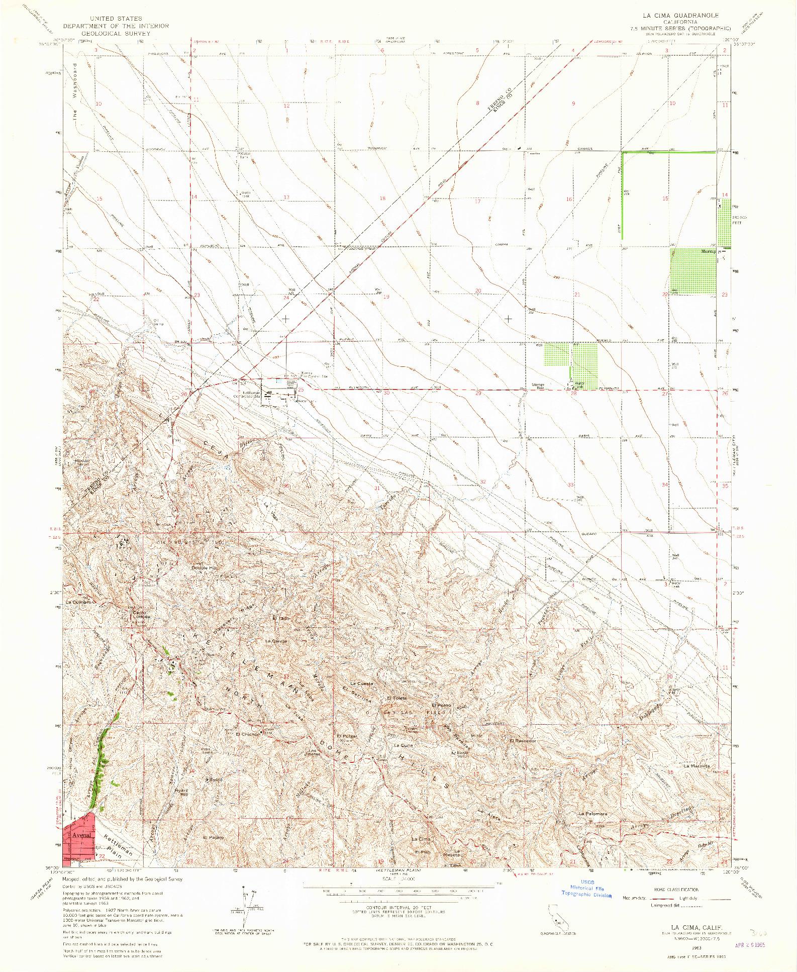 USGS 1:24000-SCALE QUADRANGLE FOR LA CIMA, CA 1963