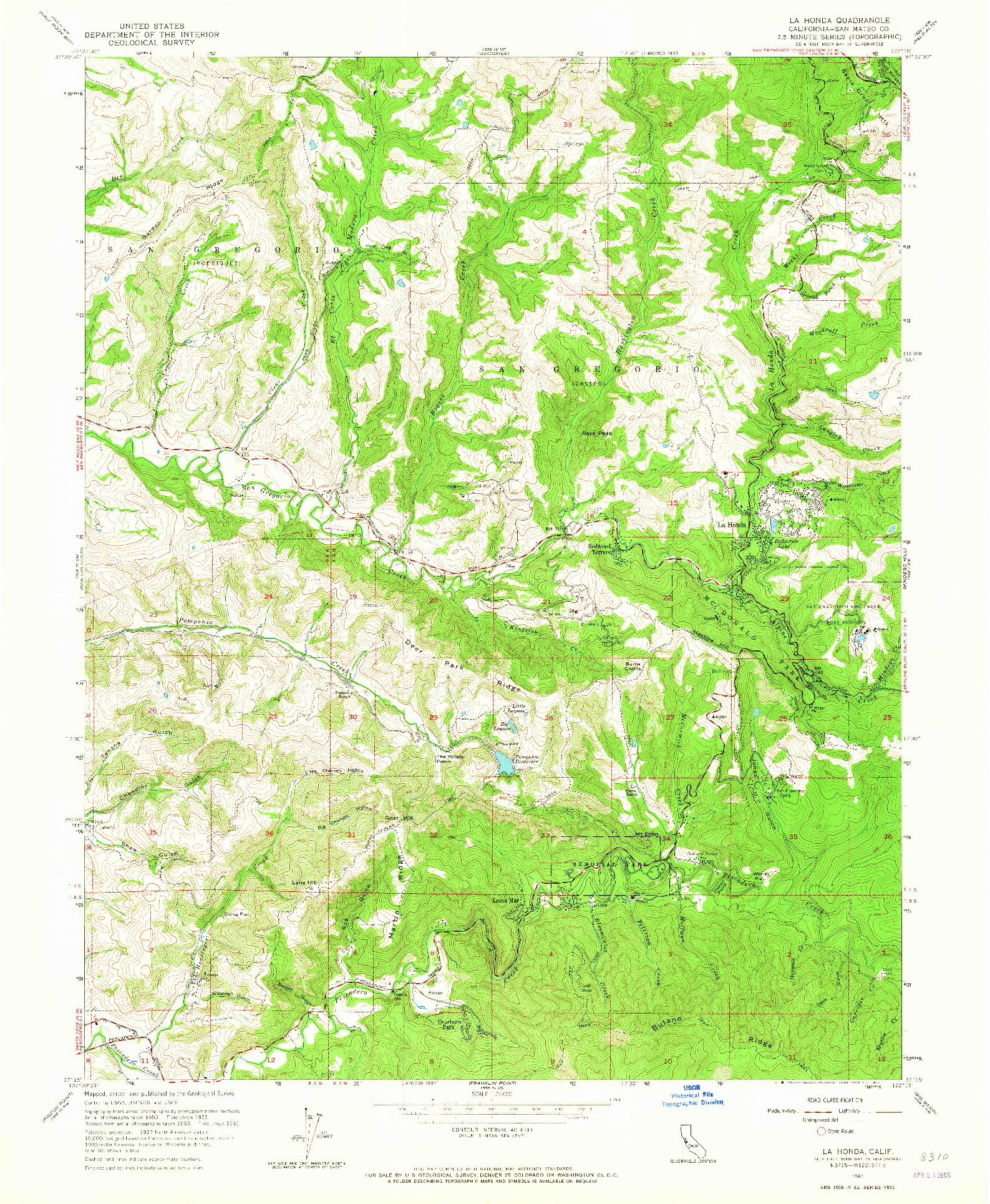 USGS 1:24000-SCALE QUADRANGLE FOR LA HONDA, CA 1961