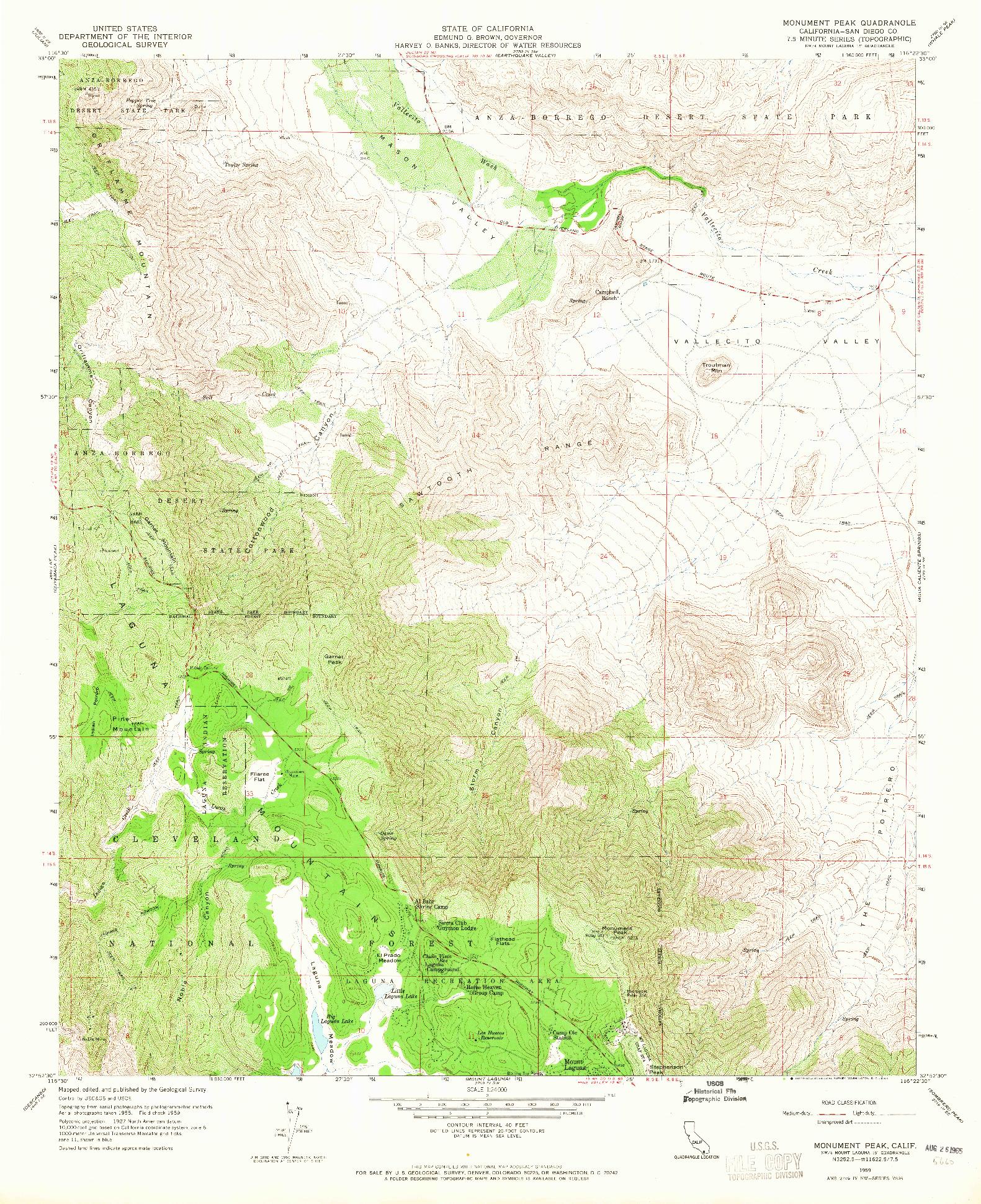 USGS 1:24000-SCALE QUADRANGLE FOR MONUMENT PEAK, CA 1959