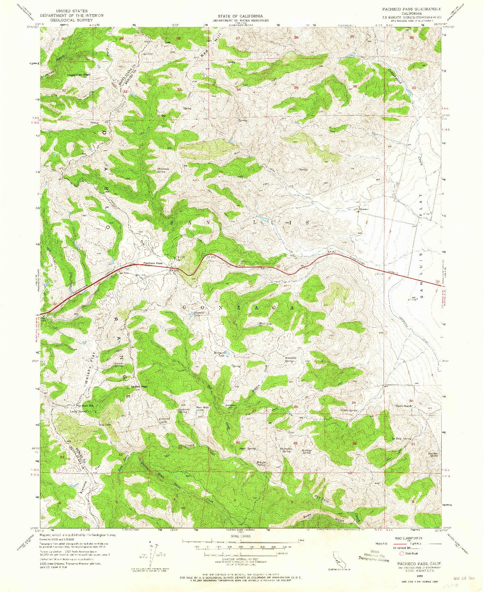 USGS 1:24000-SCALE QUADRANGLE FOR PACHECO PASS, CA 1955