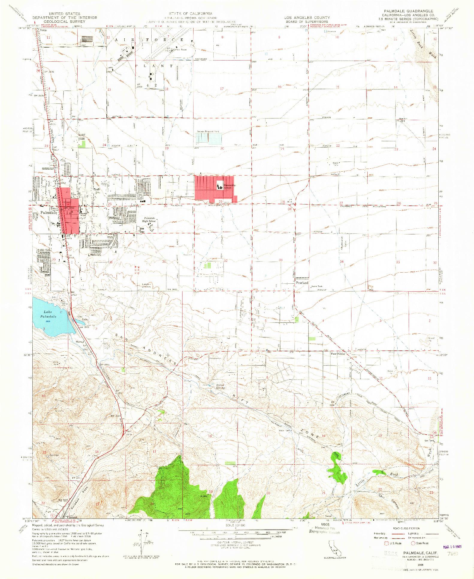 USGS 1:24000-SCALE QUADRANGLE FOR PALMDALE, CA 1958