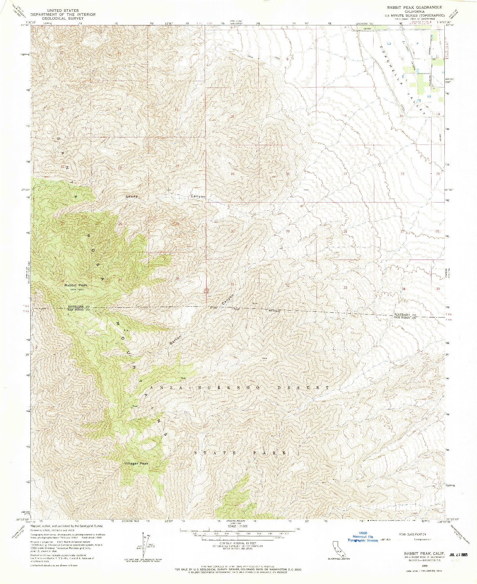 USGS 1:24000-SCALE QUADRANGLE FOR RABBIT PEAK, CA 1959