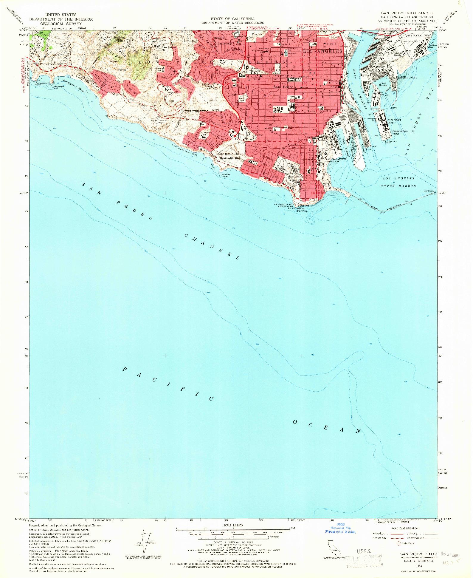 USGS 1:24000-SCALE QUADRANGLE FOR SAN PEDRO, CA 1964