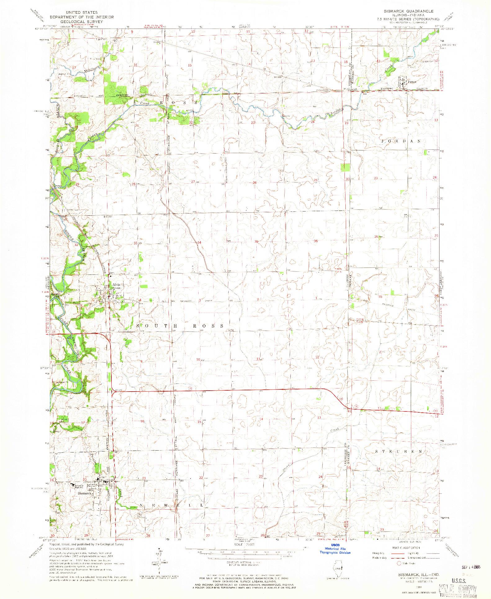 USGS 1:24000-SCALE QUADRANGLE FOR BISMARCK, IL 1964