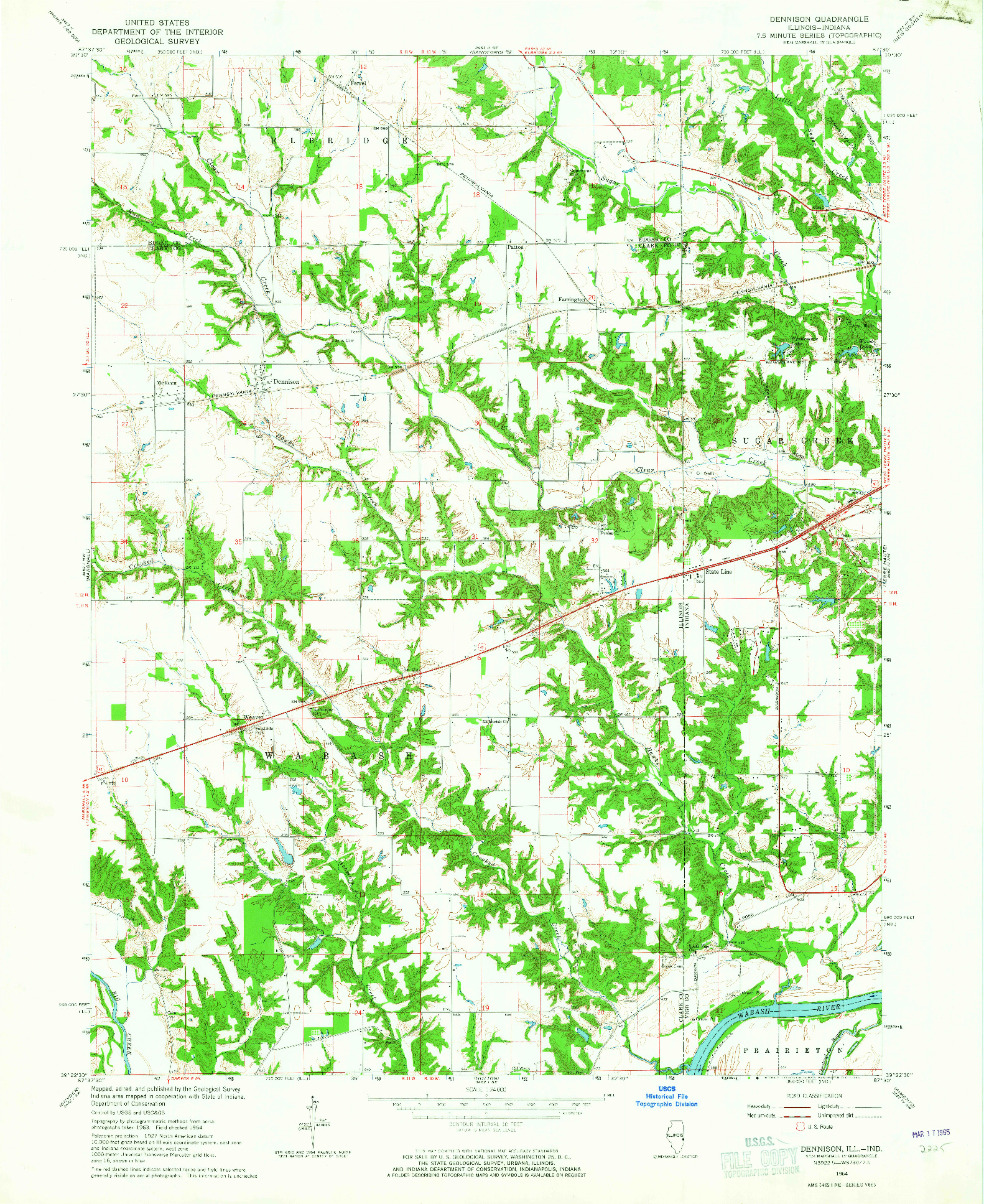 USGS 1:24000-SCALE QUADRANGLE FOR DENNISON, IL 1964
