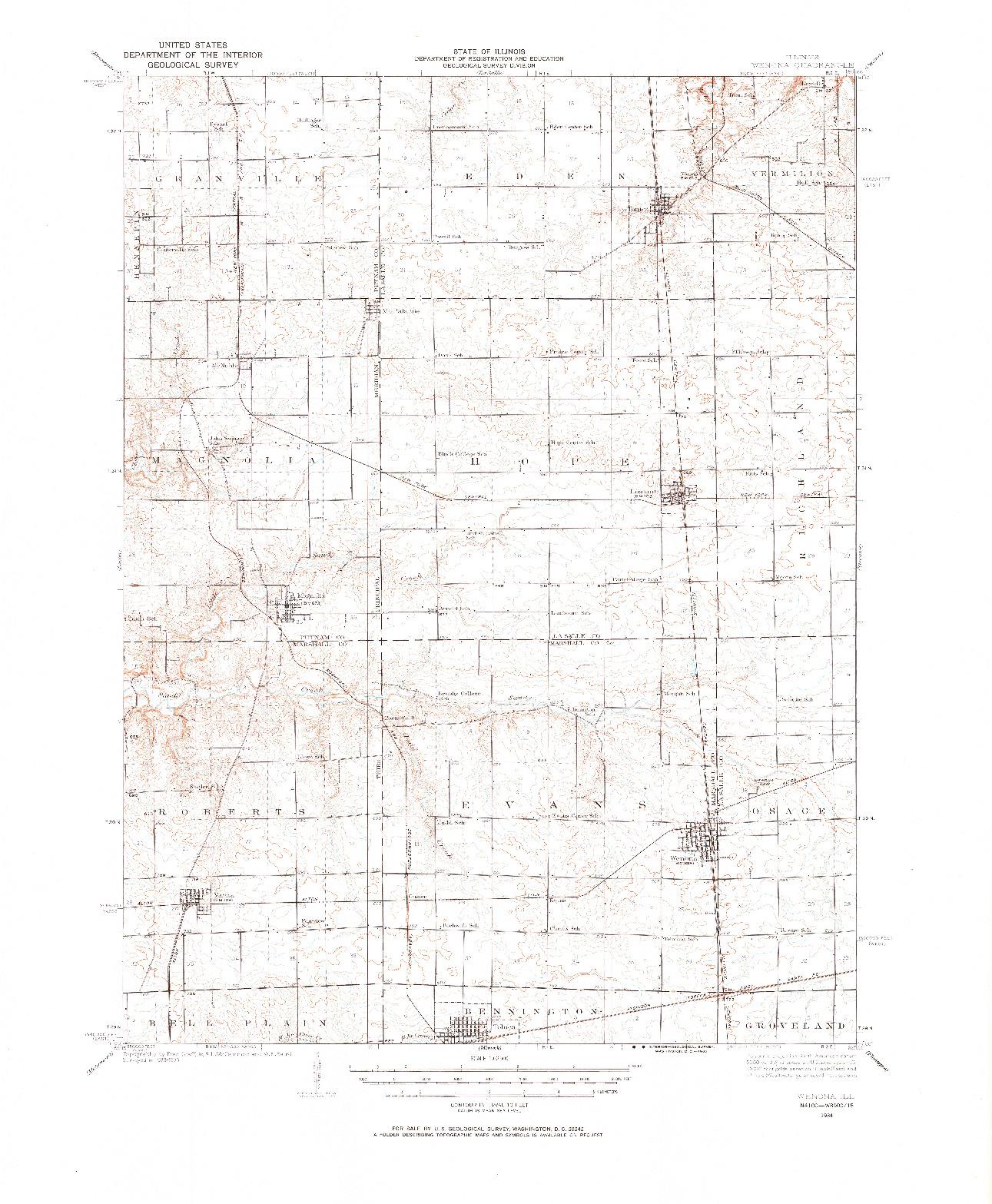 USGS 1:62500-SCALE QUADRANGLE FOR WENONA, IL 1934