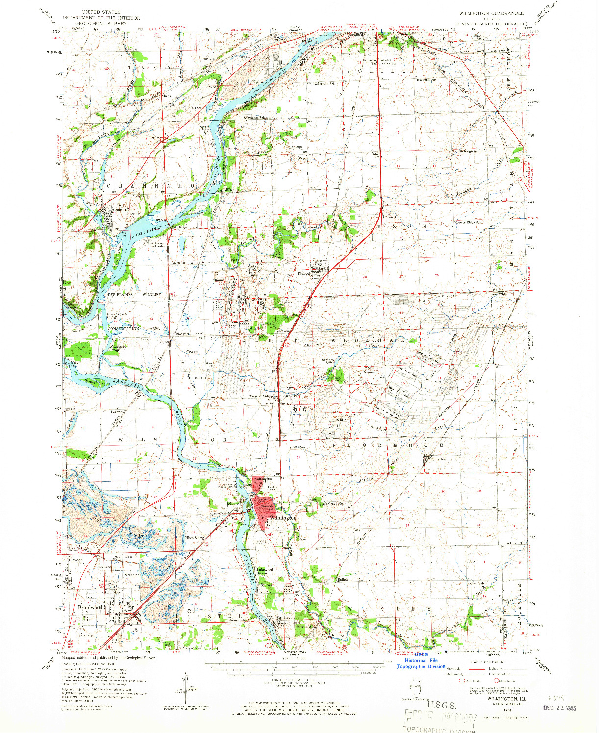 USGS 1:62500-SCALE QUADRANGLE FOR WILMINGTON, IL 1954