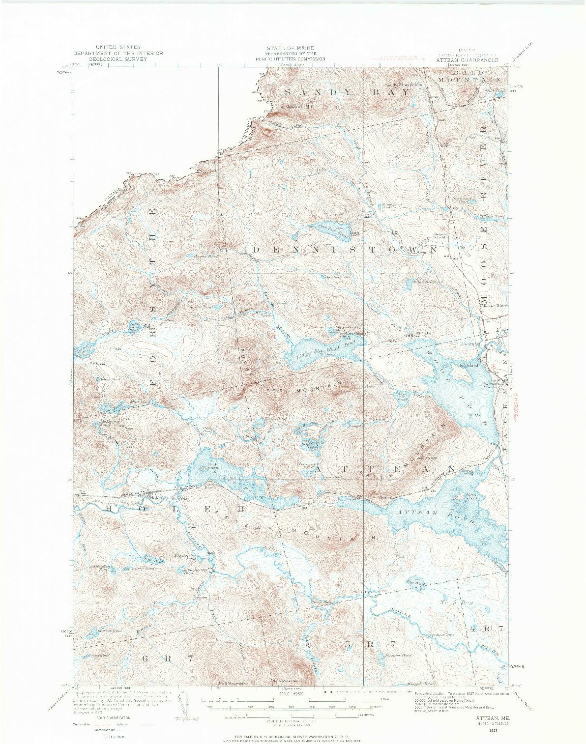 USGS 1:62500-SCALE QUADRANGLE FOR ATTEAN, ME 1923