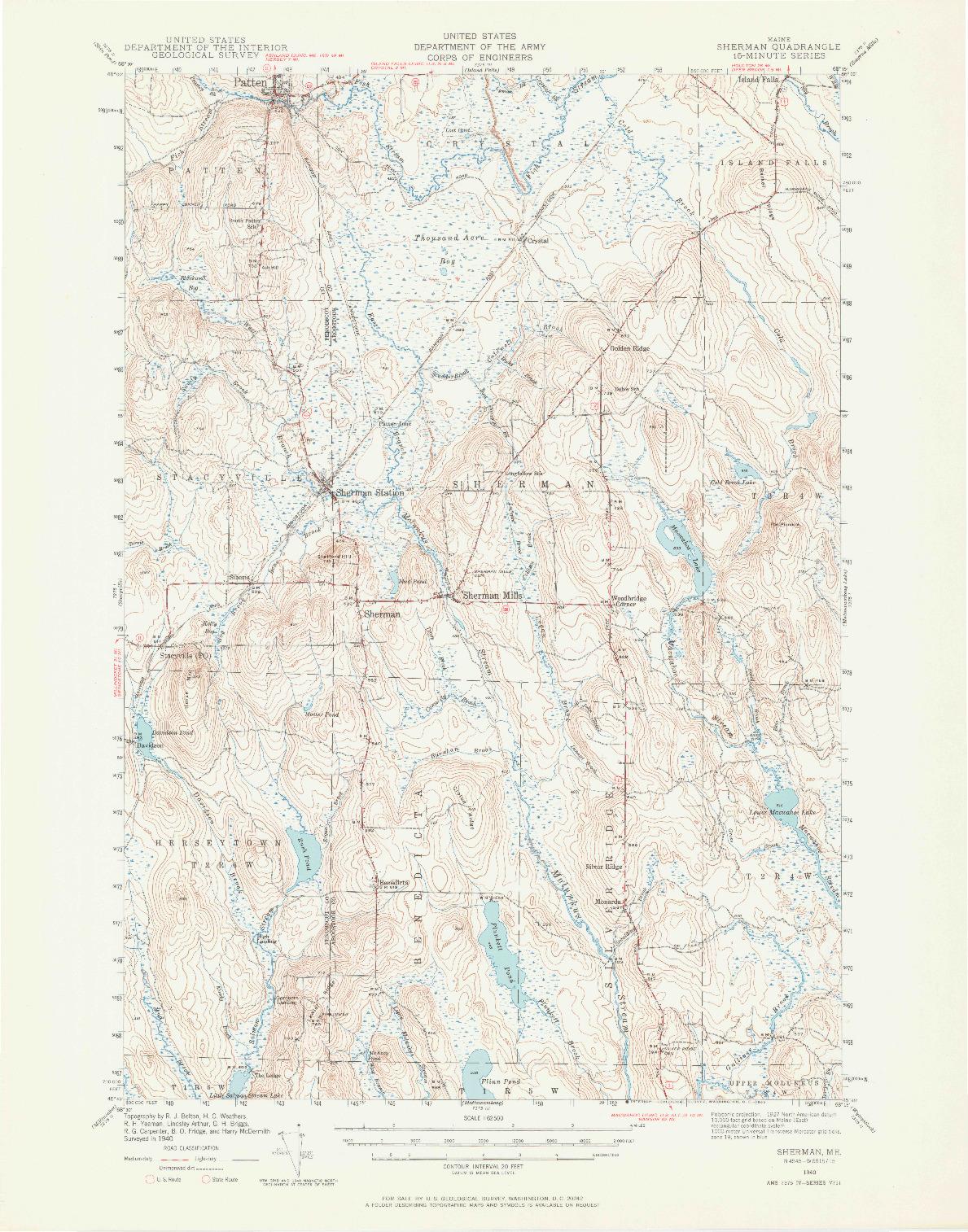 USGS 1:62500-SCALE QUADRANGLE FOR SHERMAN, ME 1940