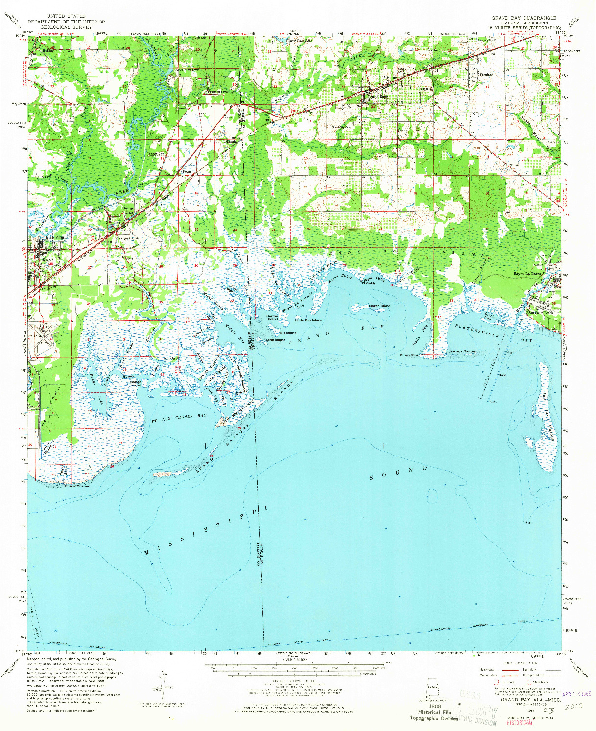 USGS 1:62500-SCALE QUADRANGLE FOR GRAND BAY, AL 1958