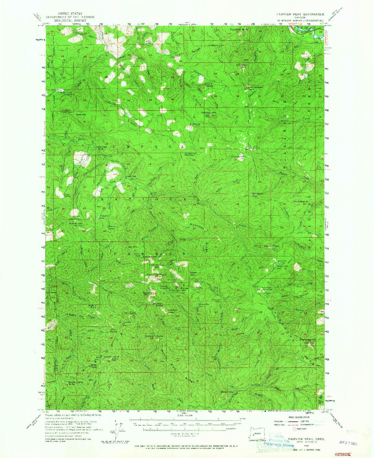 USGS 1:62500-SCALE QUADRANGLE FOR FAIRVIEW PEAK, OR 1955