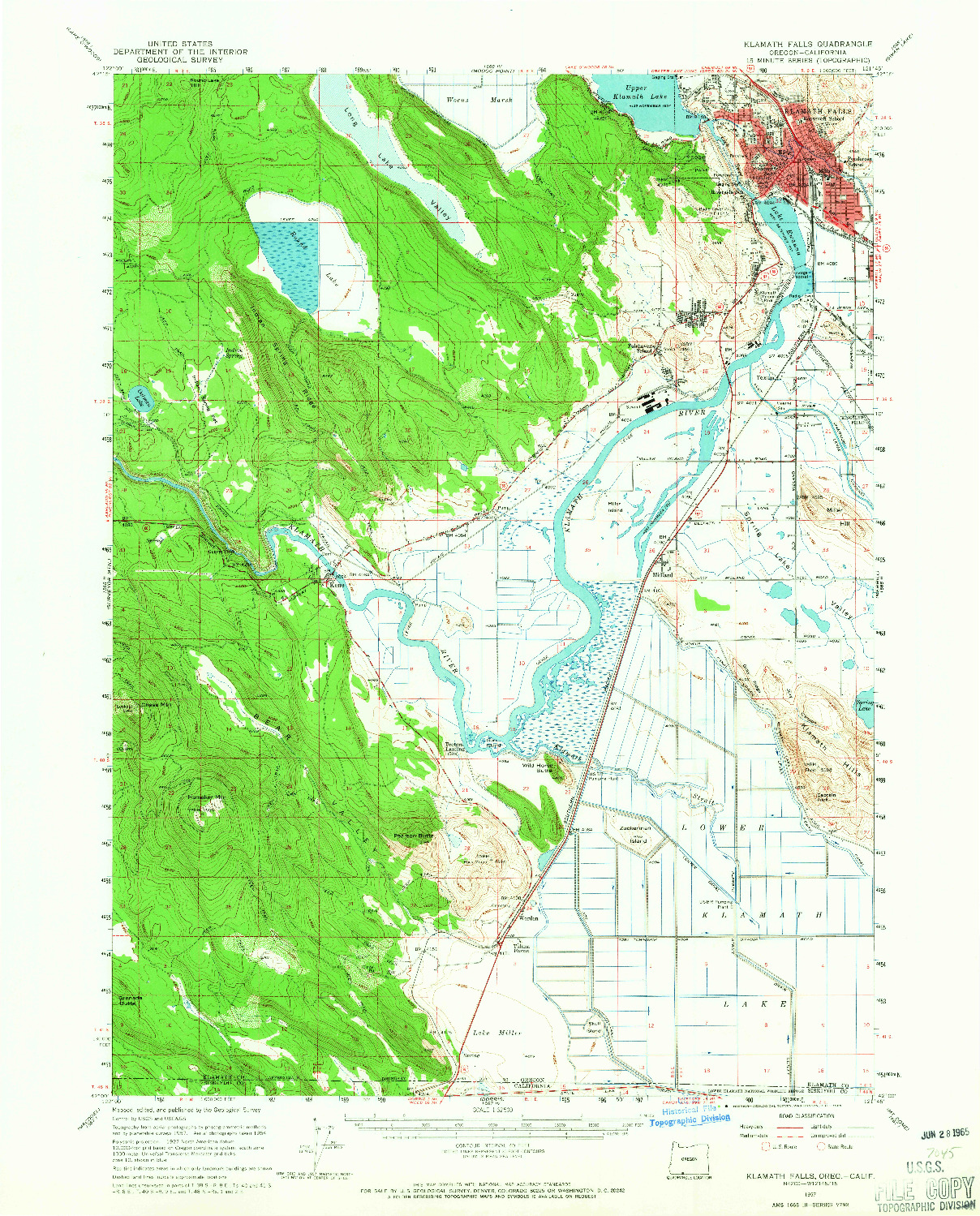 USGS 1:62500-SCALE QUADRANGLE FOR KLAMATH FALLS, OR 1957