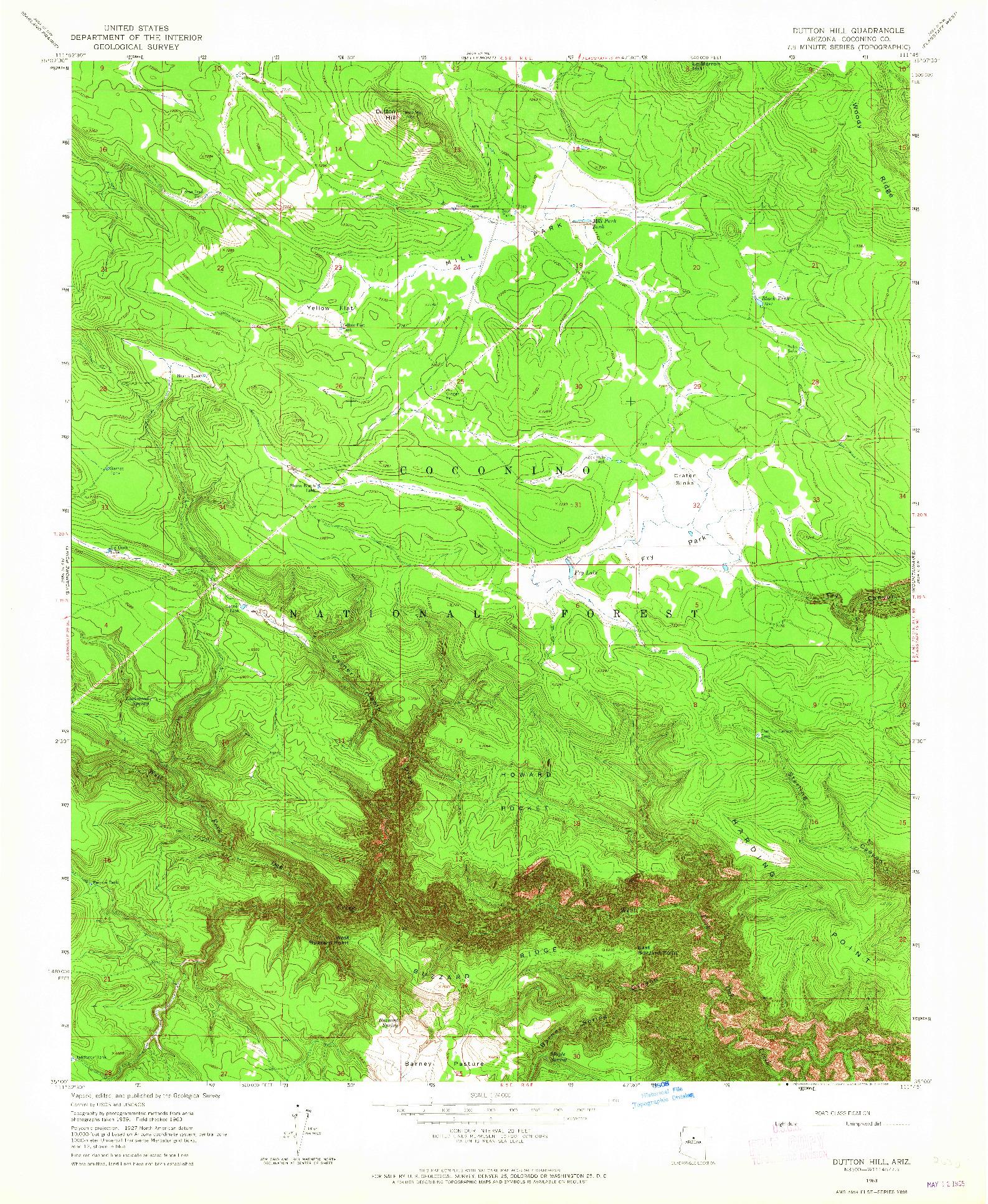 USGS 1:24000-SCALE QUADRANGLE FOR DUTTON HILL, AZ 1963