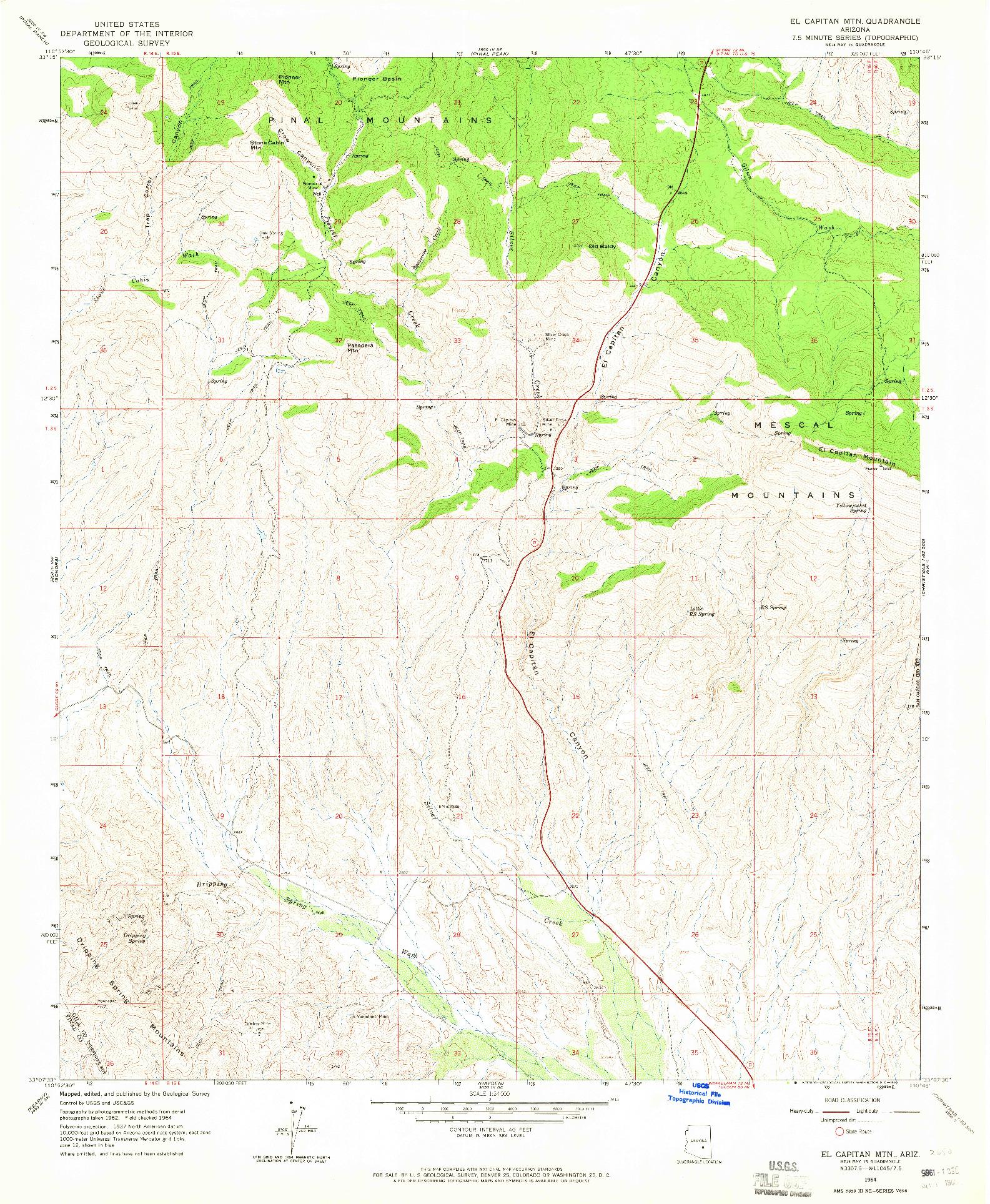 USGS 1:24000-SCALE QUADRANGLE FOR EL CAPITAN MTN, AZ 1964