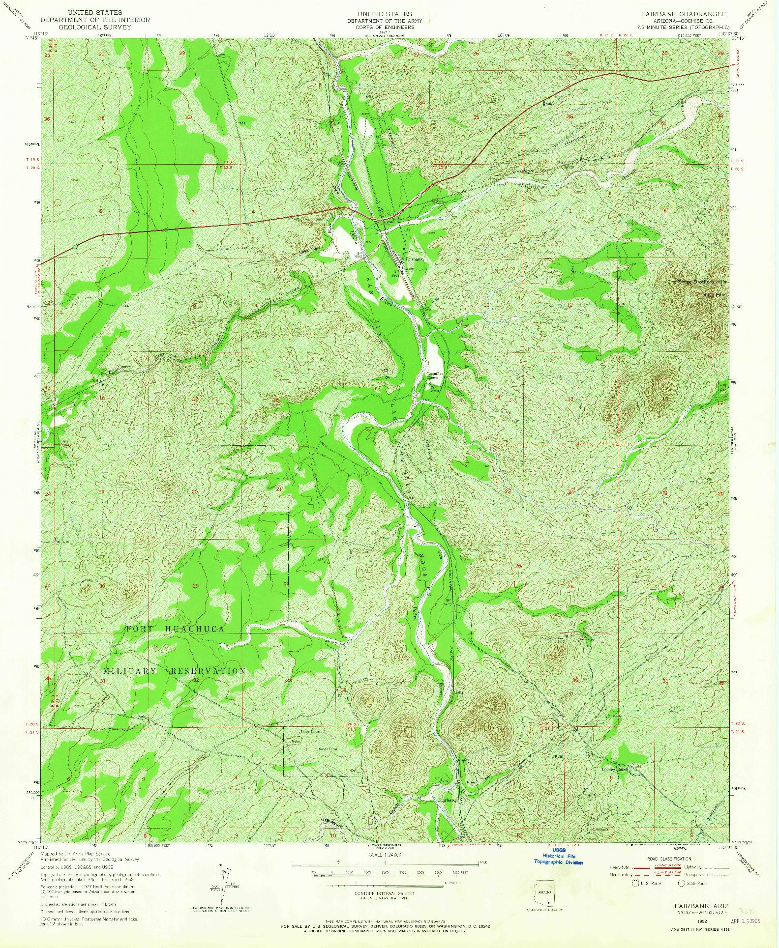 USGS 1:24000-SCALE QUADRANGLE FOR FAIRBANK, AZ 1952