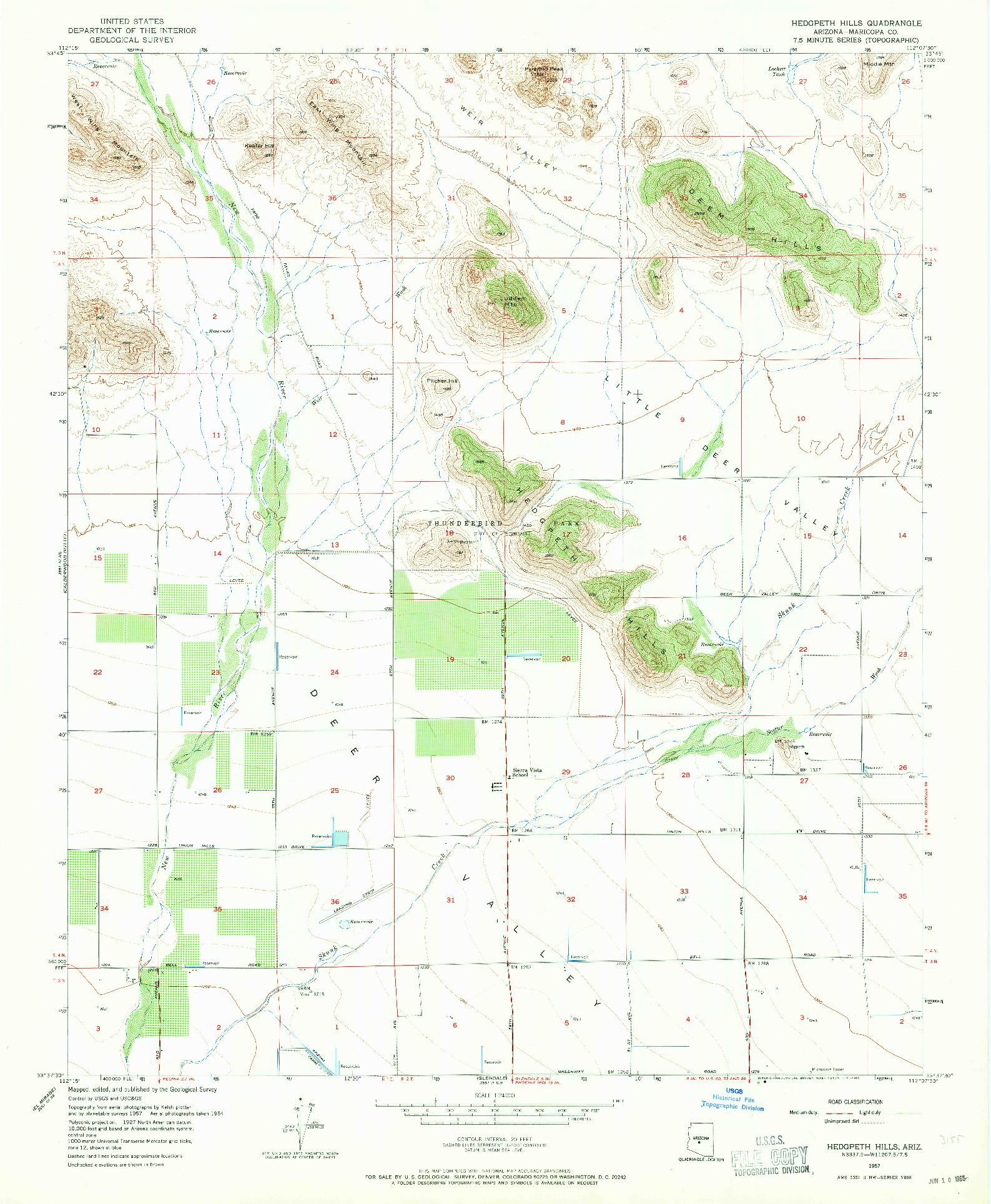 USGS 1:24000-SCALE QUADRANGLE FOR HEDGPETH HILLS, AZ 1957