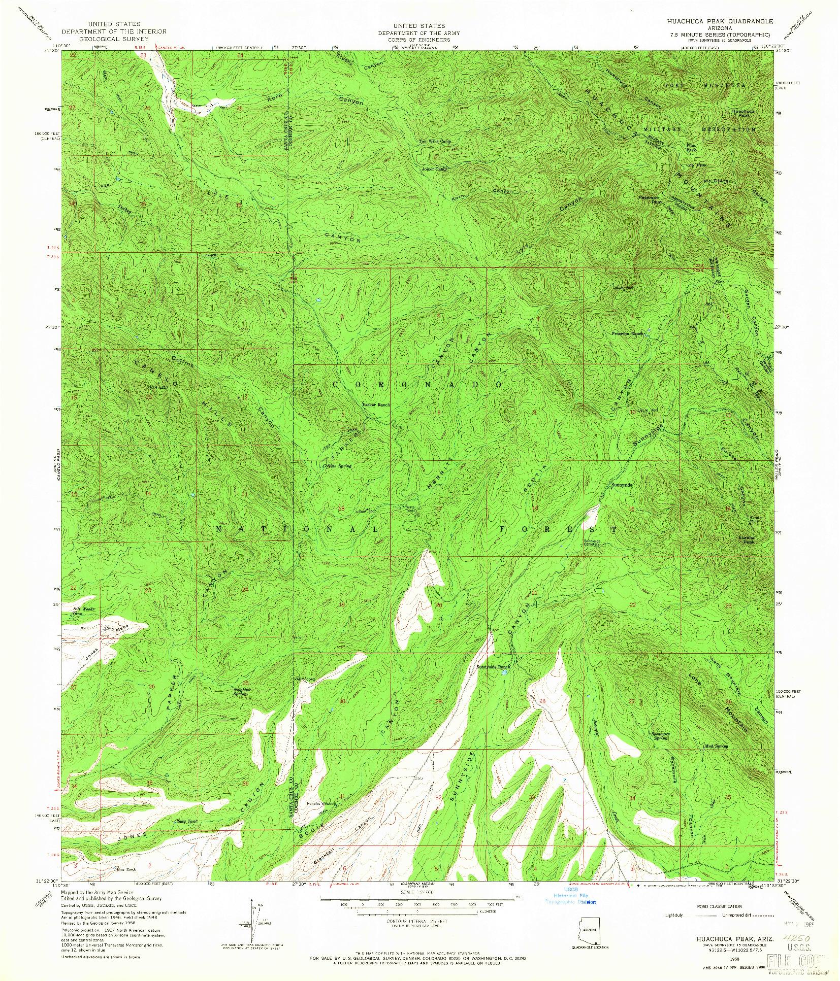 USGS 1:24000-SCALE QUADRANGLE FOR HUACHUCA PEAK, AZ 1958
