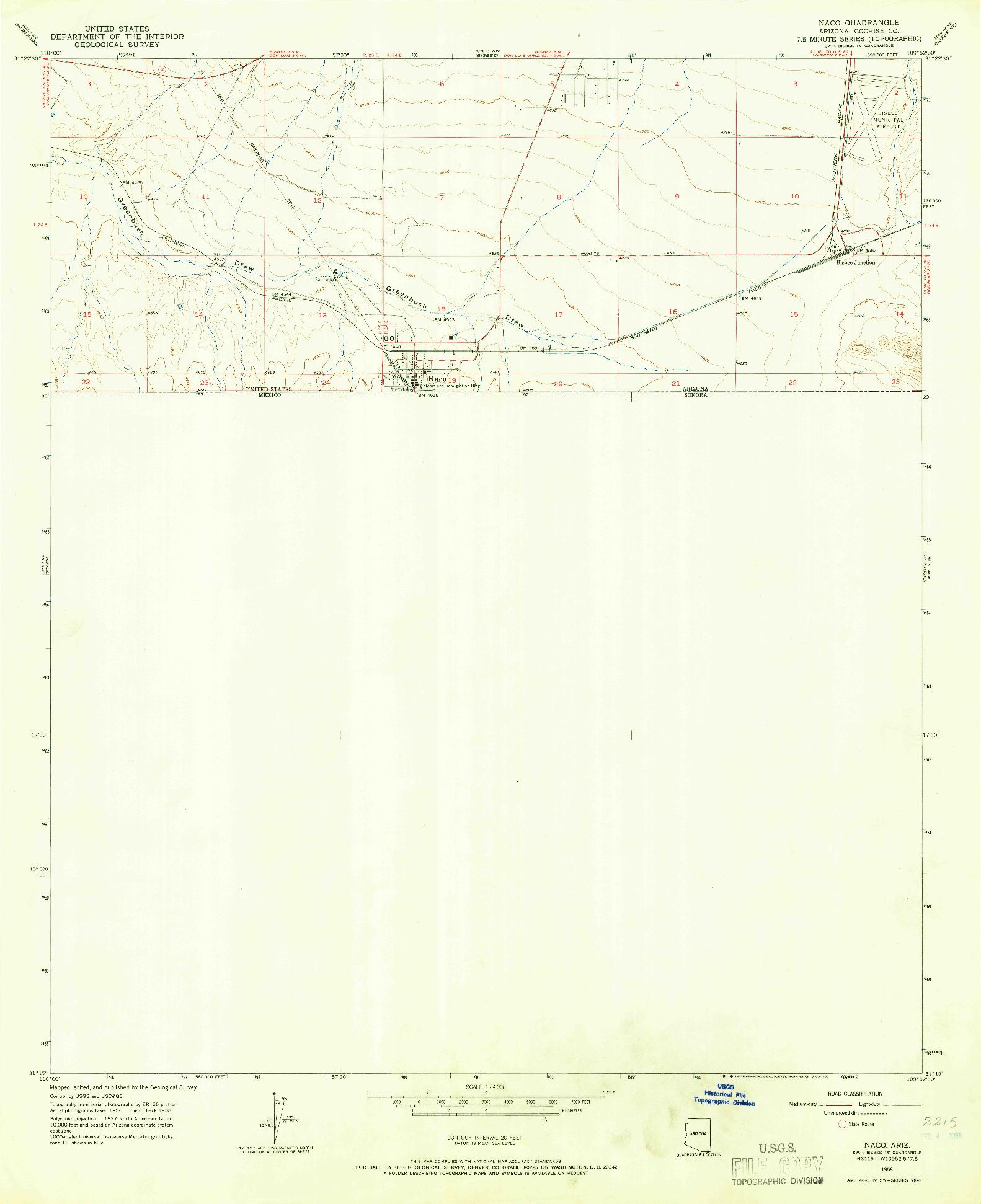 USGS 1:24000-SCALE QUADRANGLE FOR NACO, AZ 1958
