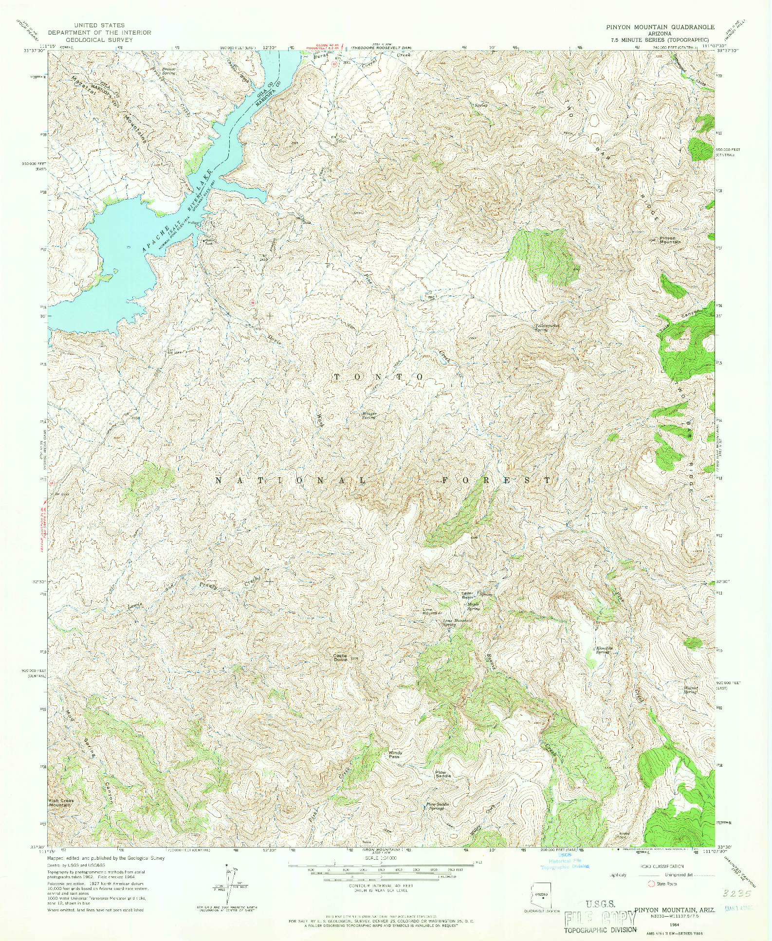 USGS 1:24000-SCALE QUADRANGLE FOR PINYON MOUNTAIN, AZ 1964