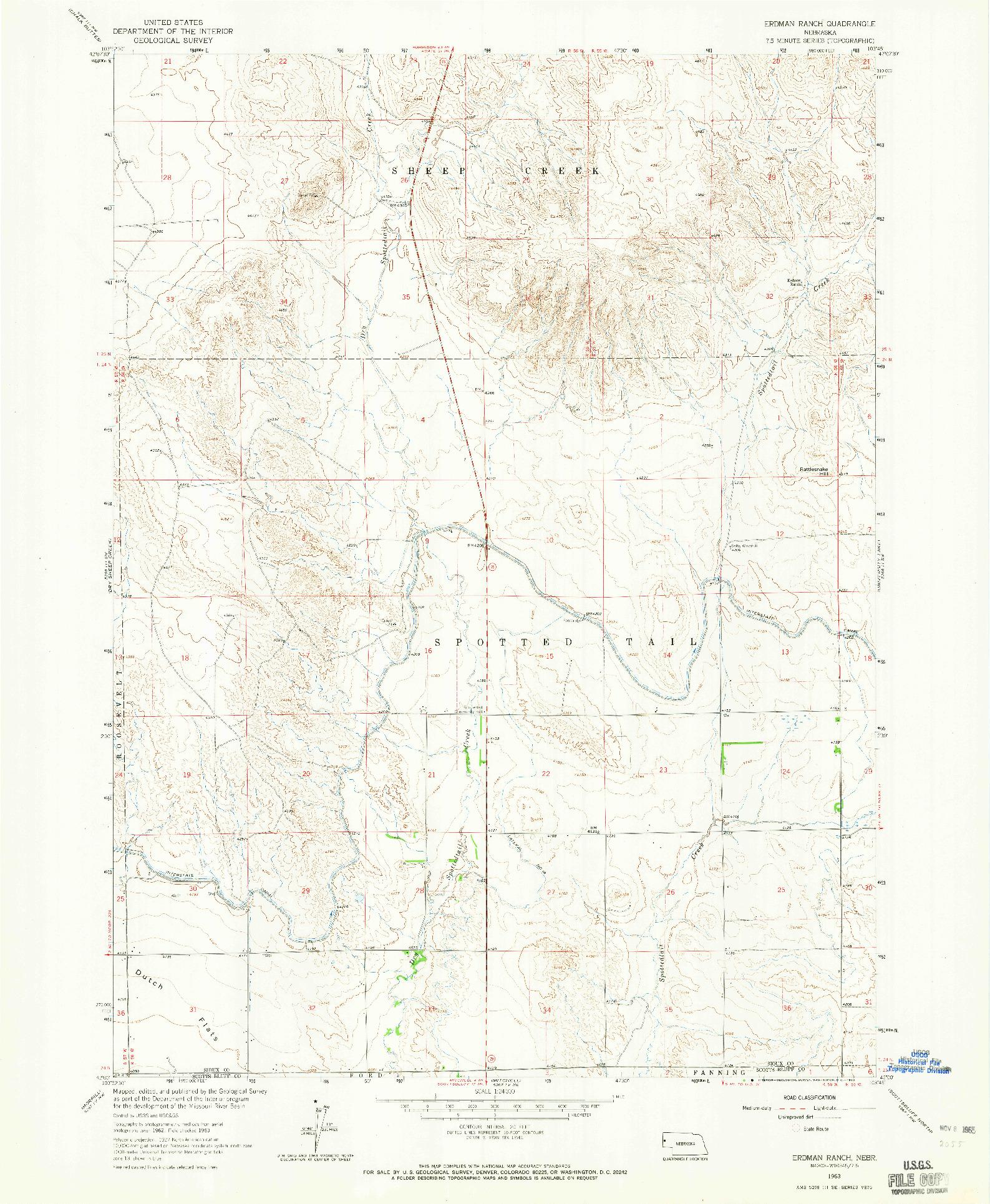 USGS 1:24000-SCALE QUADRANGLE FOR ERDMAN RANCH, NE 1963