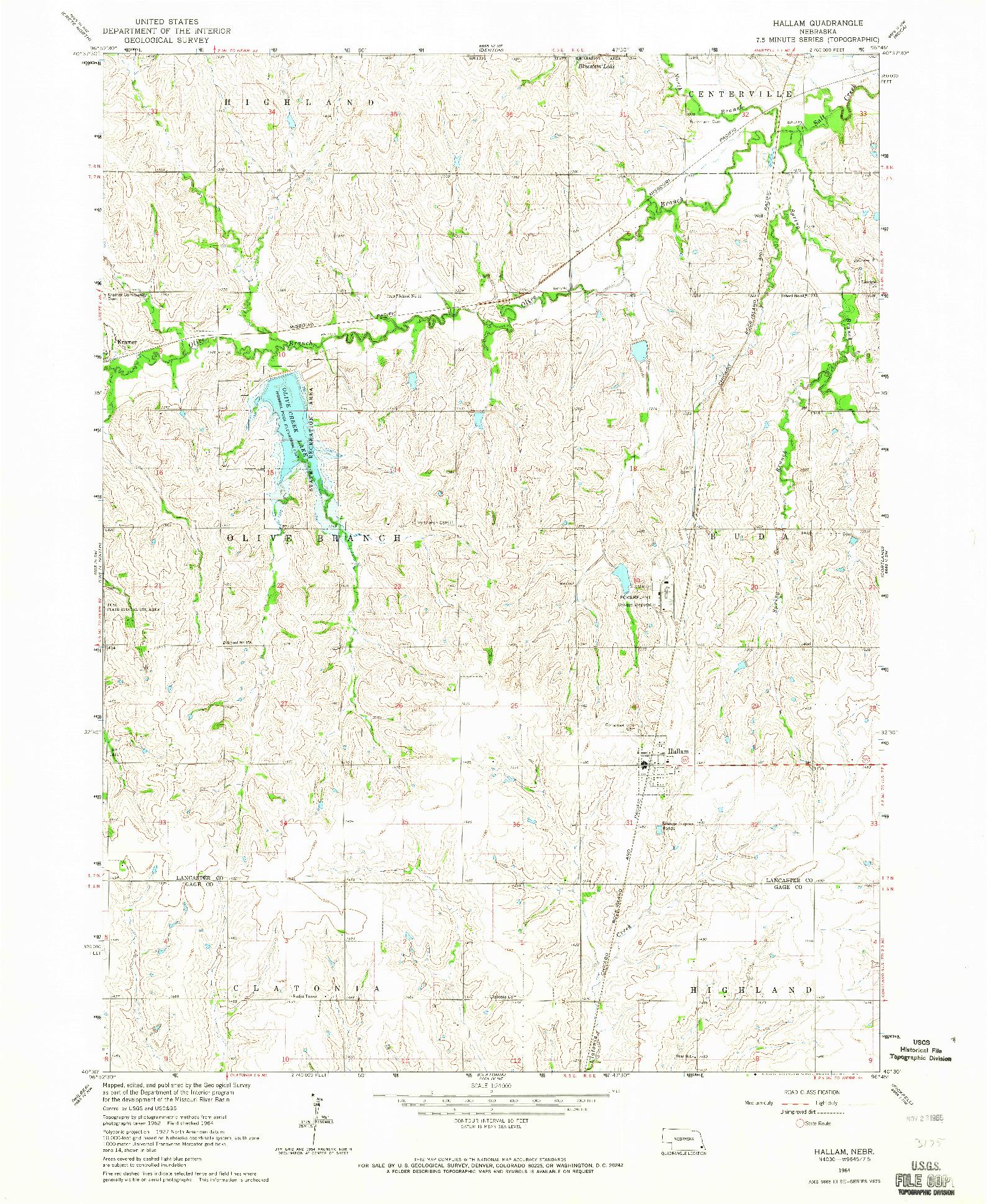 USGS 1:24000-SCALE QUADRANGLE FOR HALLAM, NE 1964