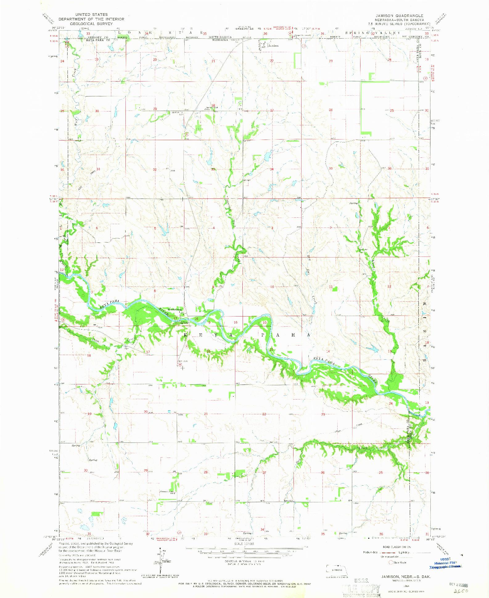 USGS 1:24000-SCALE QUADRANGLE FOR JAMISON, NE 1964
