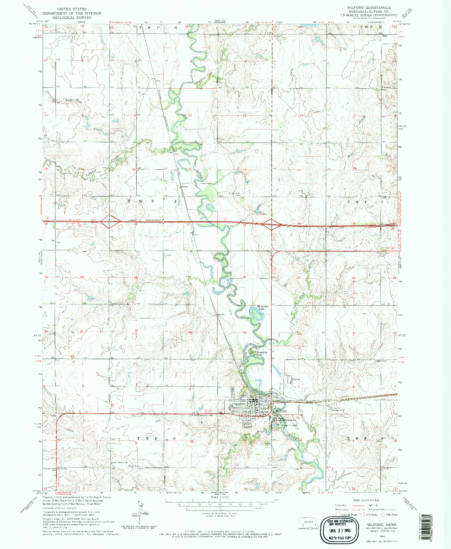 USGS 1:24000-SCALE QUADRANGLE FOR MILFORD, NE 1964