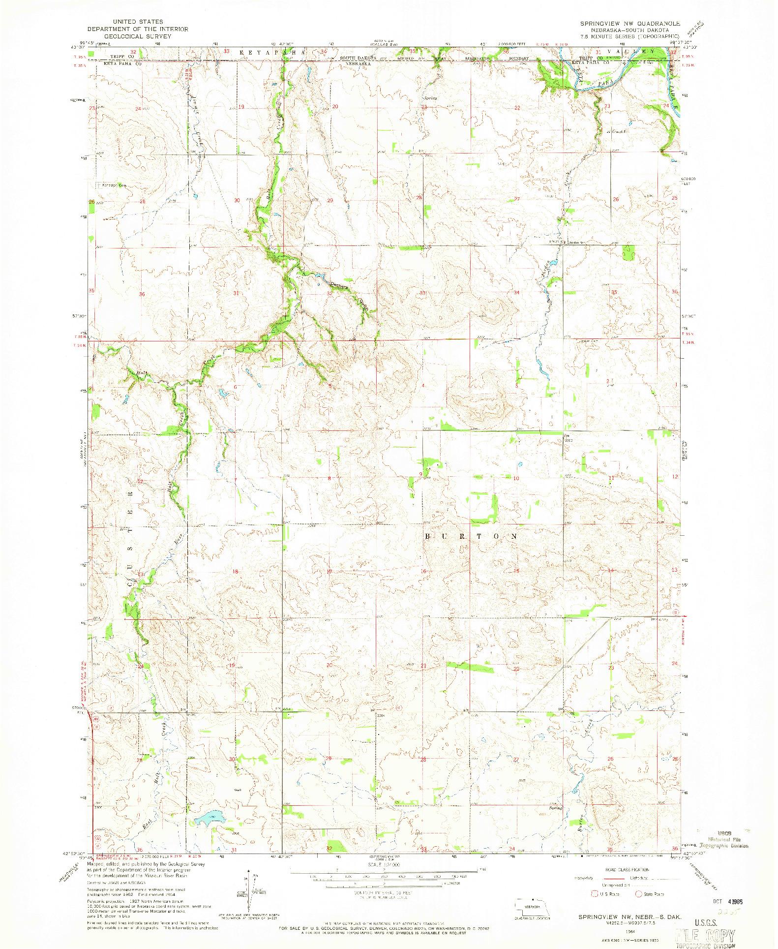 USGS 1:24000-SCALE QUADRANGLE FOR SPRINGVIEW NW, NE 1964