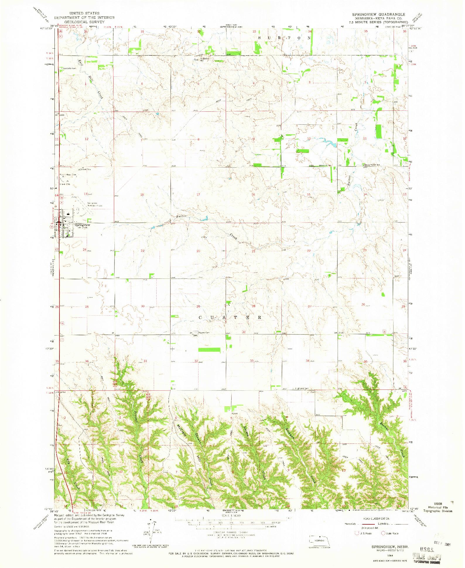USGS 1:24000-SCALE QUADRANGLE FOR SPRINGVIEW, NE 1964