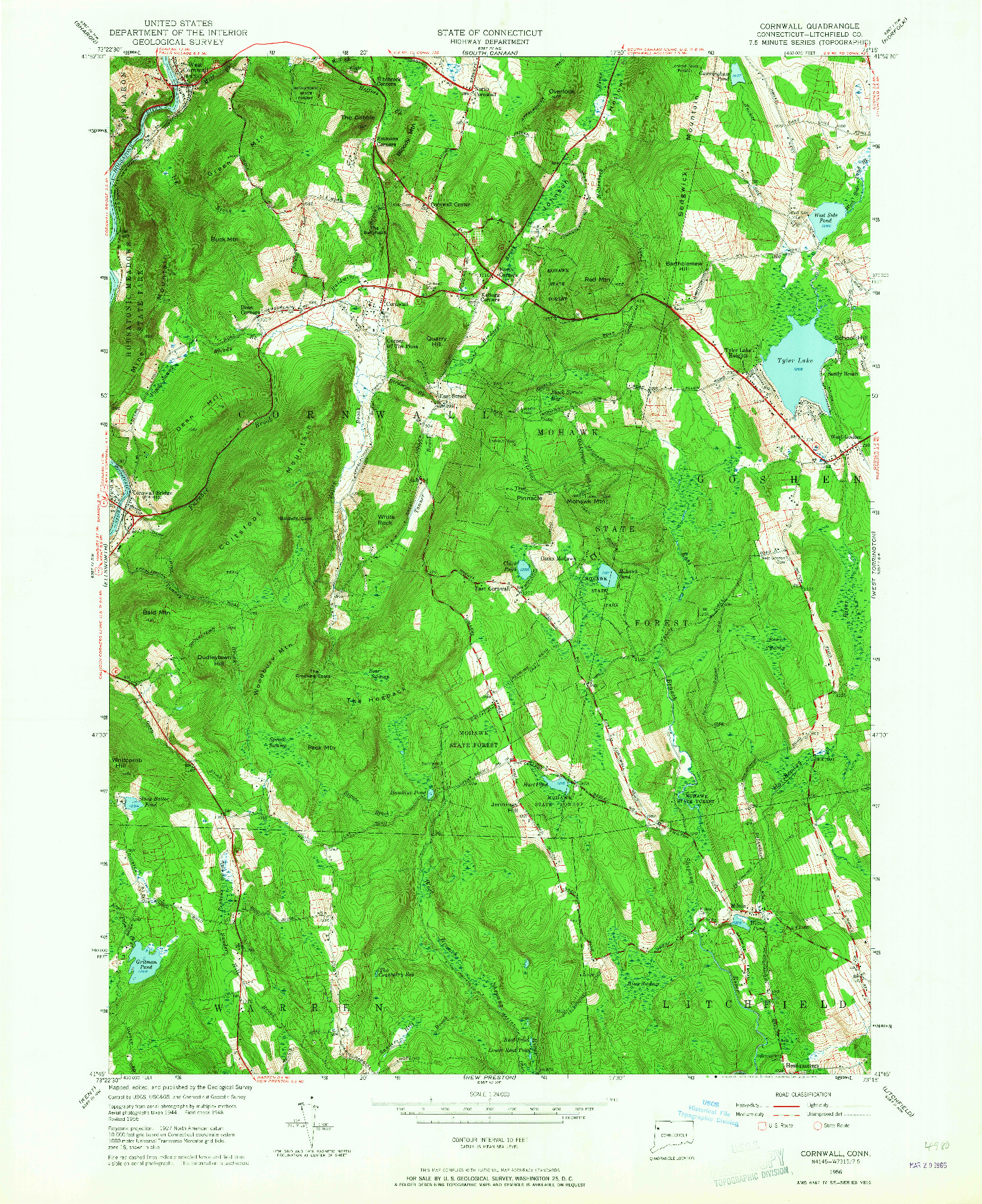 USGS 1:24000-SCALE QUADRANGLE FOR CORNWALL, CT 1956