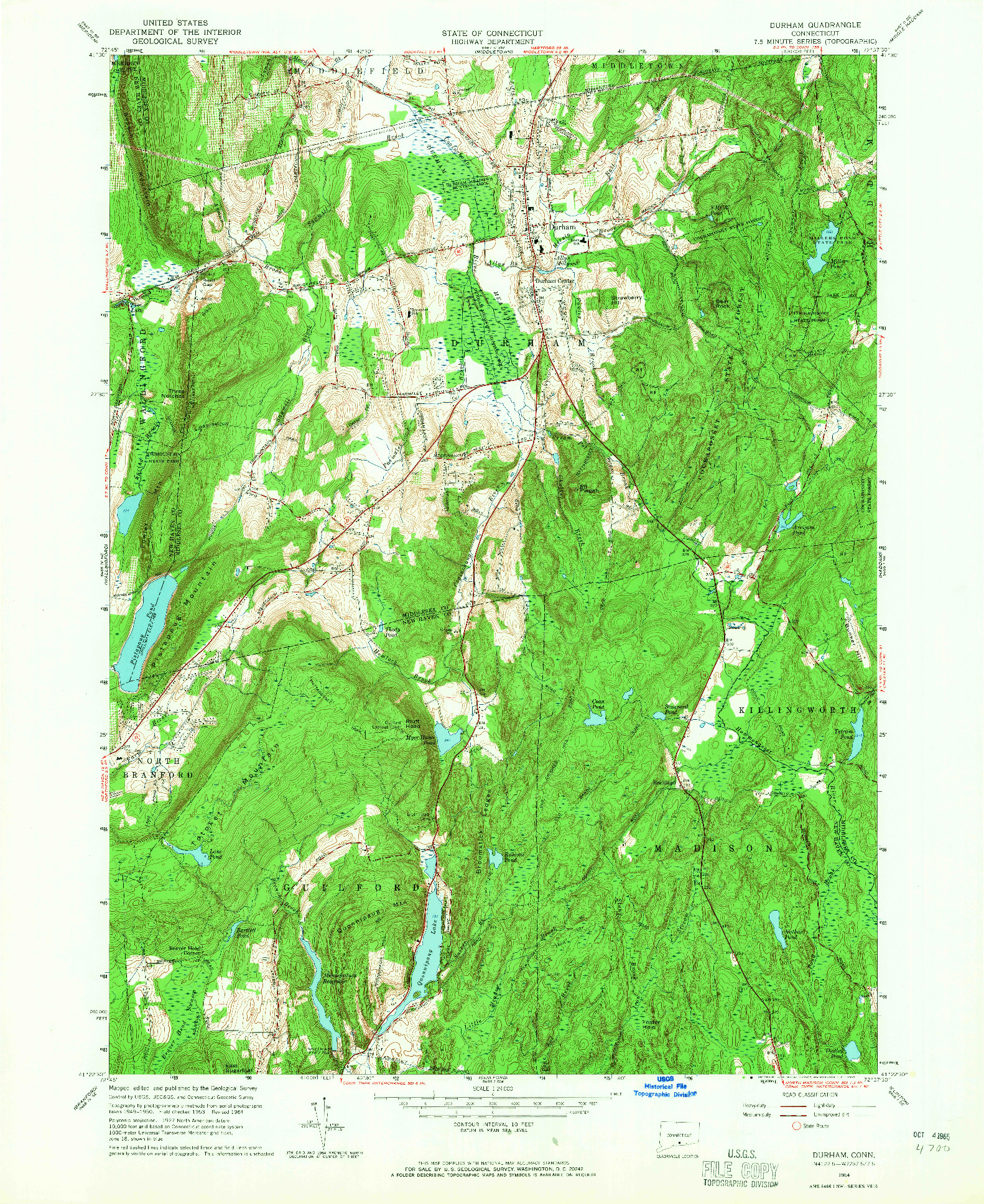 USGS 1:24000-SCALE QUADRANGLE FOR DURHAM, CT 1964