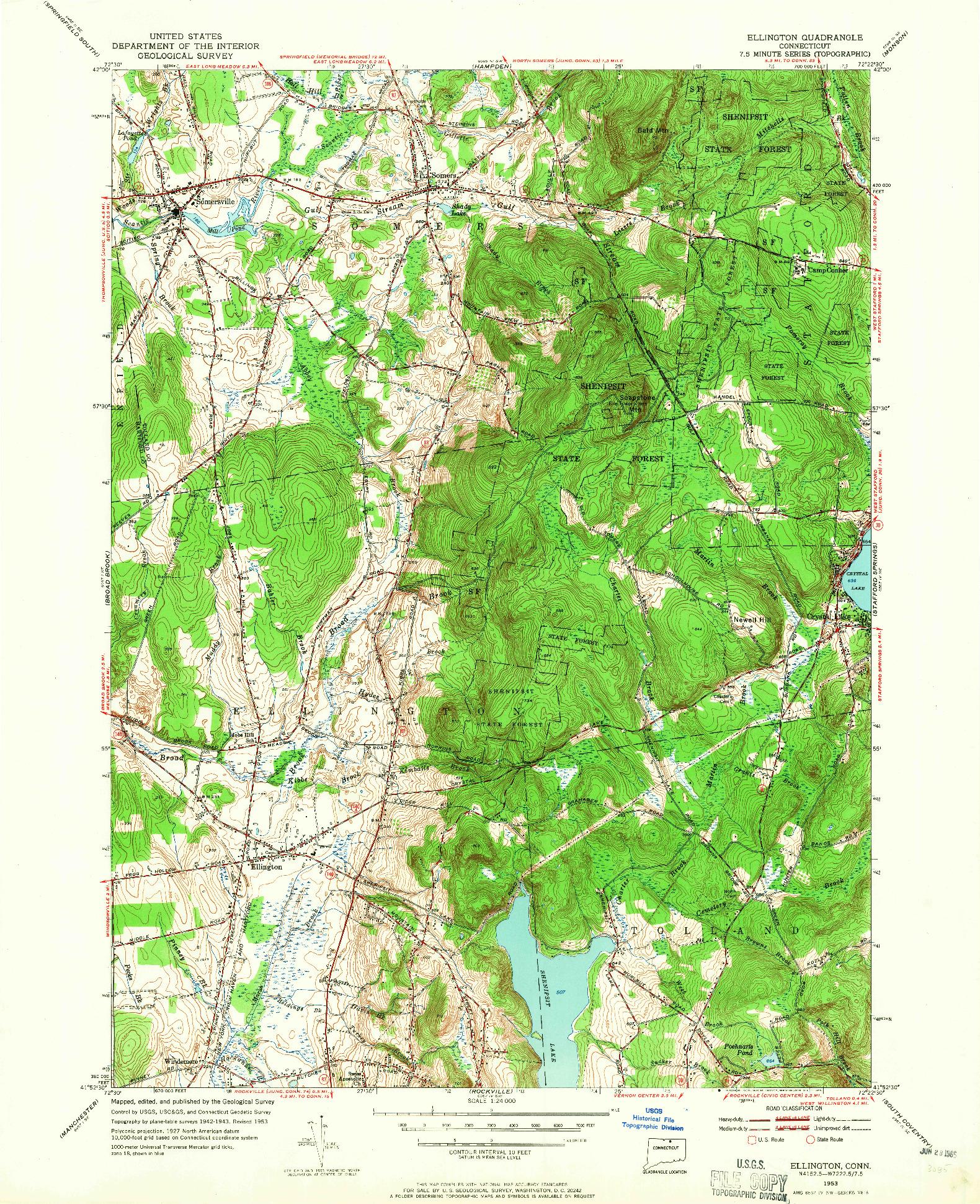 USGS 1:24000-SCALE QUADRANGLE FOR ELLINGTON, CT 1953