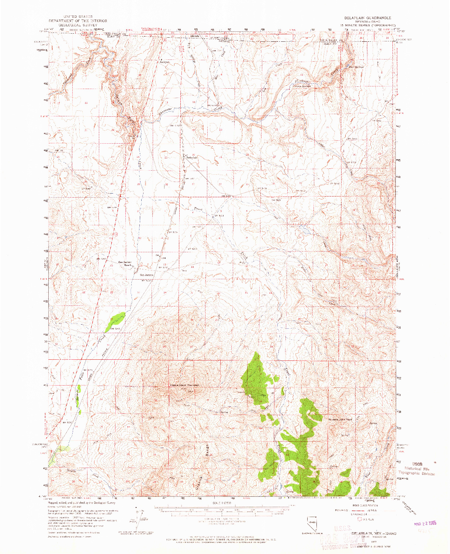 USGS 1:62500-SCALE QUADRANGLE FOR DELAPLAIN, NV 1957