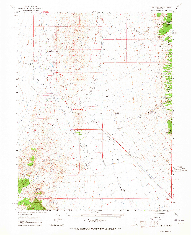 USGS 1:62500-SCALE QUADRANGLE FOR DUCKWATER, NV 1964